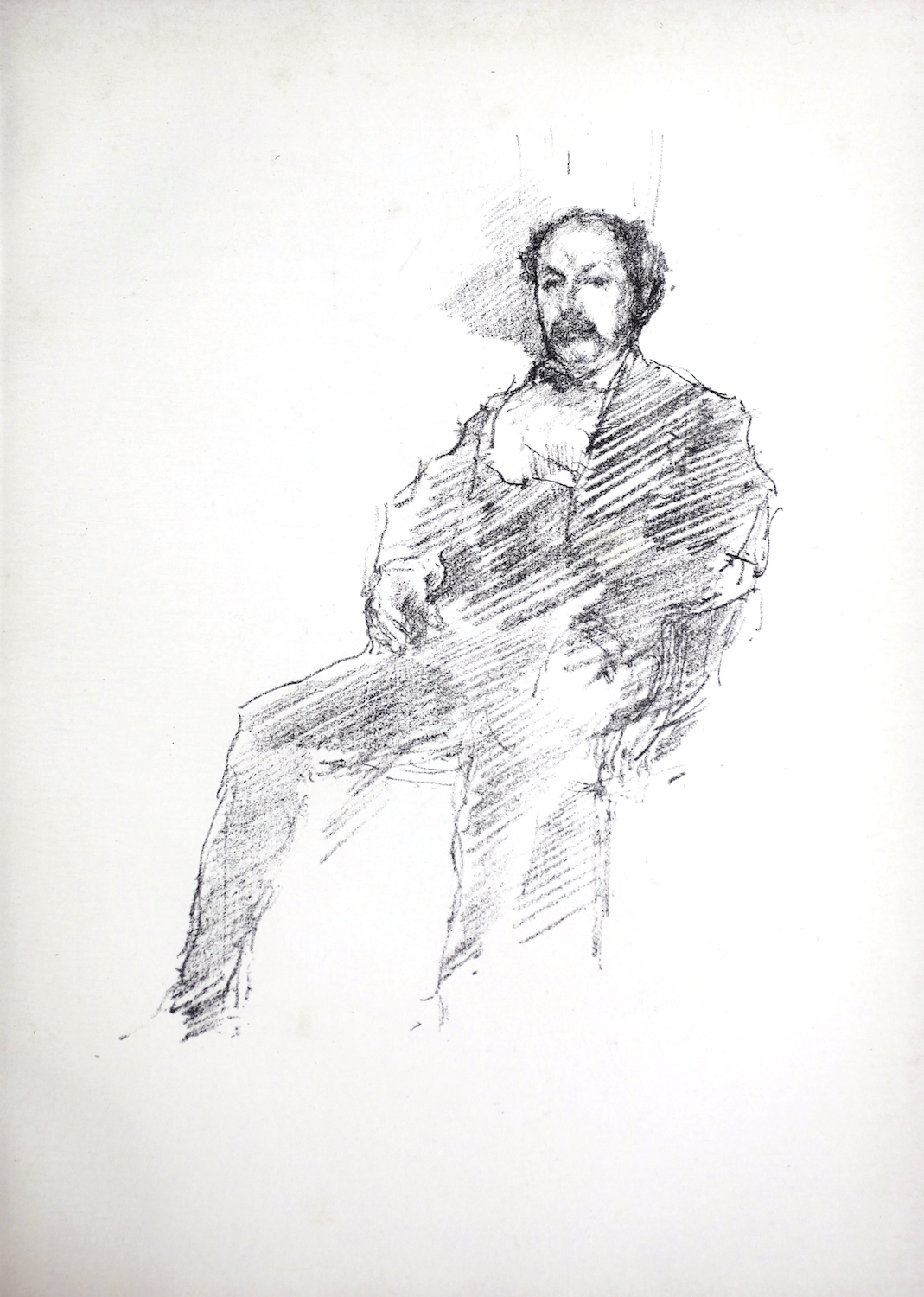 The unframed image, which features a man sitting on a chair and looking forward, has no background detail. The man is positioned off centre, with his back on the right side of the image and his feet pointing to the left. The man is wearing a suit, but the details are intentionally vague, sketched roughly by the artist. His right hand is visible on his lap, but the fingers on his left hand are not drawn, and his legs are likewise left unfinished, without feet. The man has a mustache, thick hair on the sides of his head and thinning hair on the crown. No setting is provided. The title indicates that the portrait is of the artist's brother, Dr. William McNeil Whistler (1836-1900).
