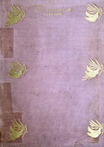 Front cover of the Pageant Volume 1 from 1896 made with purple cloth with birds carrying a branch stamped in gold