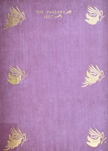 Front cover of the Pageant Volume 2 from 1896 made with purple cloth with birds carrying a branch stamped in gold