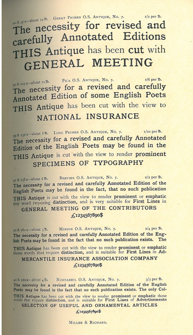 Scan from a Millar and Richard Specimen Book from 1902.