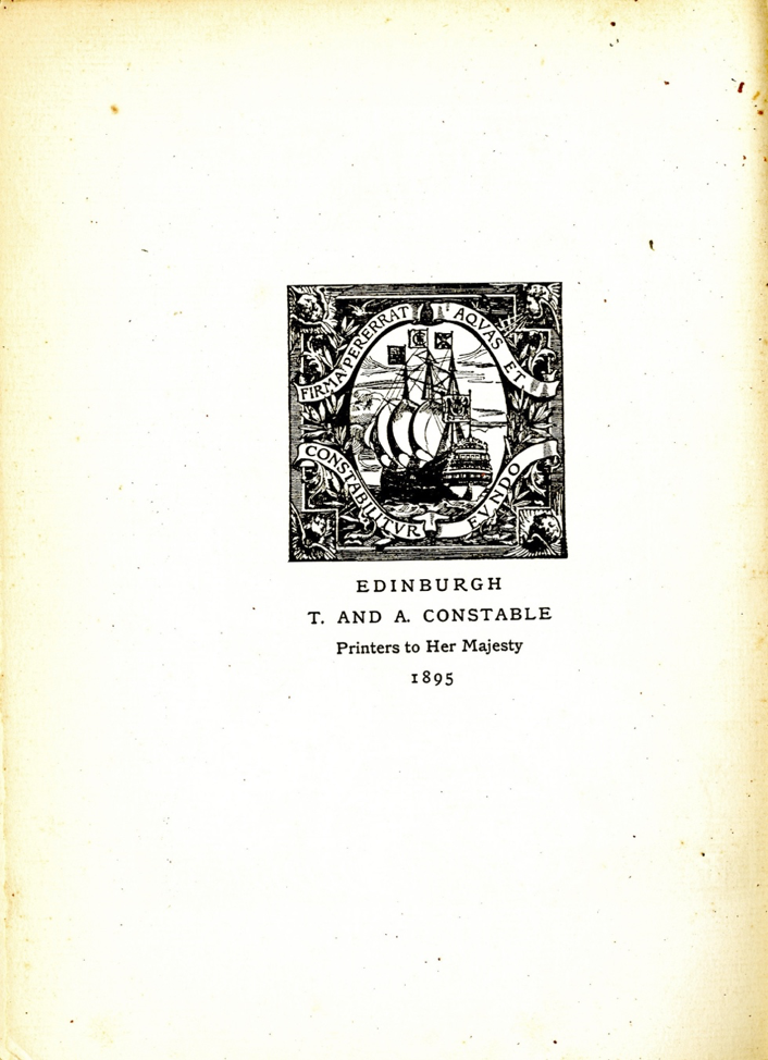 A Scan of T. & A. Constable's printer's colophon from the first volume of The Evergreen.