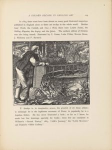 """This line-block reproduction of a wood-engraved image appears in landscape orientation. There is one man gazing off into the distance with a detailed landscape illustrated around him. The man stands in the foreground to the left of the page, facing towards the right side and leaned forward onto a tall engraved stone beside a bridge. He takes up about the whole left side of the page in height, and one-quarter of the page width. The man has his right leg wrapped around in front of his left, clothed in knee-high boots and loose pants. He is wearing a long sleeve shirt and has his coat hung over his right shoulder. He has on a long cap and stringy pieces of hair fall forward onto his face, which is visible in profile. His right arm has the forearm resting on the stone, while only his left elbow leans on the stone and left hand cups his left cheek. The stone pillar he leans on rises to about his waist, or three-quarters up from the bottom of the page, and it tapers off slightly towards the top. The pillar has two vertical lines engraved on the outer edges and the letters """"F"""" """"A,"""" and """"S""""—the artist Frederick Augustus Sandys' monogram--are engraved backwards on the centre of the block (likely due to a failure to reverse the letters for the wood engraver). A log with plants growing out of it is leaning on the front of the stone pillar. The foreground is otherwise filled with large leaves and reeds. Behind the man on the left and travelling in a line diagonally up towards the right side of the page is a simple wooden bridge. The bridge has railings made of wood pieces running horizontally in two lines with a few vertical support pieces above the bridge base. Water fills the mid-ground underneath the bridge, reflective of the sky in distorted shading. Bushes line the shore on the far side of the bridge, rising up to the man's shoulder in height on the page. Behind the bushes are trees forming a forest in the central background, and there is a house to the right peeking out b"""
