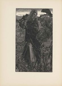 """This line-block reproduction of a wood-engraved image is in portrait orientation. A man stands tall in the middle of the image on top of a hill, holding onto a scarf billowing in the strong wind and looking at a crow sitting on a branch. The man spans from the base to the top of the page in height and takes up about half of the width. In the foreground are various plants and twigs springing up and covering his feet. One plant rises up taller than the others on the left, reaching about his waist in height. The man is centered in the page. He is wearing a baggy coat that reaches the ground but is split slightly at the waist to reveal a sliver of her long, lighter-coloured robe. The coat has baggy sleeves that hang far below his left arm, which is positioned up horizontally across his body. He is holding onto a scarf that billows behind him on the left side of the page. His right arm is crossed underneath his left. The coat he wears is tied together at the neck with a single button. His hair is wavy and blown back from his face in a sort of mane from the wind. His face is turned towards the right of the page and tilted slightly up, showing a three-quarters profile. He looks at a crow that sits slightly above eye-level on a branch extending out from the top right corner of the page. The crow is bigger than the man's head and looks back at him, leaning forward on the branch. The branches of an evergreen tree with pine needles stick out below the bare branch upon which the crow sits. In the background of the man and the crow is a faintly outlined city made up of many little houses, which seem to be at the bottom of the hill they are on. Behind the city is a skyline with a few clouds and a dark upper edge. In the bottom left corner a small logo appears in a doubly-lined square that has the letters """"F"""" """"A"""" and """"S"""" scripted over top of each other; this is the monogram signature of the artist, Frederick Augustus Sandys. In the bottom right corner the word """"SWAIN"""" [caps] appea"""