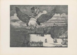 The half-tone reproduction of an etching is in landscape orientation. The image shows a flying donkey being ridden by a man in armour up in the air and over a guarded town square. In the top half of the page the flying donkey and armoured man are foregrounded and slightly to the left. The donkey and man are facing away from the viewer, and the donkey's backend is central. The donkey's legs are folded up towards his stomach and his tail hangs long behind him. He has wings attached to his sides that span three-quarters of the page in width. The wings are feathered and alike eagle wings that arc upwards. The man sitting on the donkey has one leg hanging over either side of the donkey's body and is wearing knee-high boots with pants. On the man's top half he wears armour that covers his torso, shoulder, arms, and head: specifically a tasset, fauld, plackart, breastplate, pauldron, rerebrace, couter, vambrace, gauntlet, gorget, helm, and largely plumed comb. The knight also holds a long spear vertically tucked under his right arm. The donkey's tall ears are tipped in black and stick out from behind the man. They are flying above a backgrounded city that fills the bottom half of the page. In the bottom left corner is the roof of a large building. In the central bottom of the page there are about ten men standing in a row within the town square surrounded by two-storey buildings. The group of men are facing away from the viewer and dressed in robes with a soldier cap and a bayonet hung on a sash across their torsos. To the right of the group are two soldiers similarly dressed to the others and walking diagonally and towards the left away from the pack. In the bottom right corner is a large stone slab, perhaps a monument, and to the right of it sits a fountain. Behind the fountain is a large building that rises up to the skyline. To the left of that building and set deeper into the background is a group of buildings that meld into one another and form the far side of the to