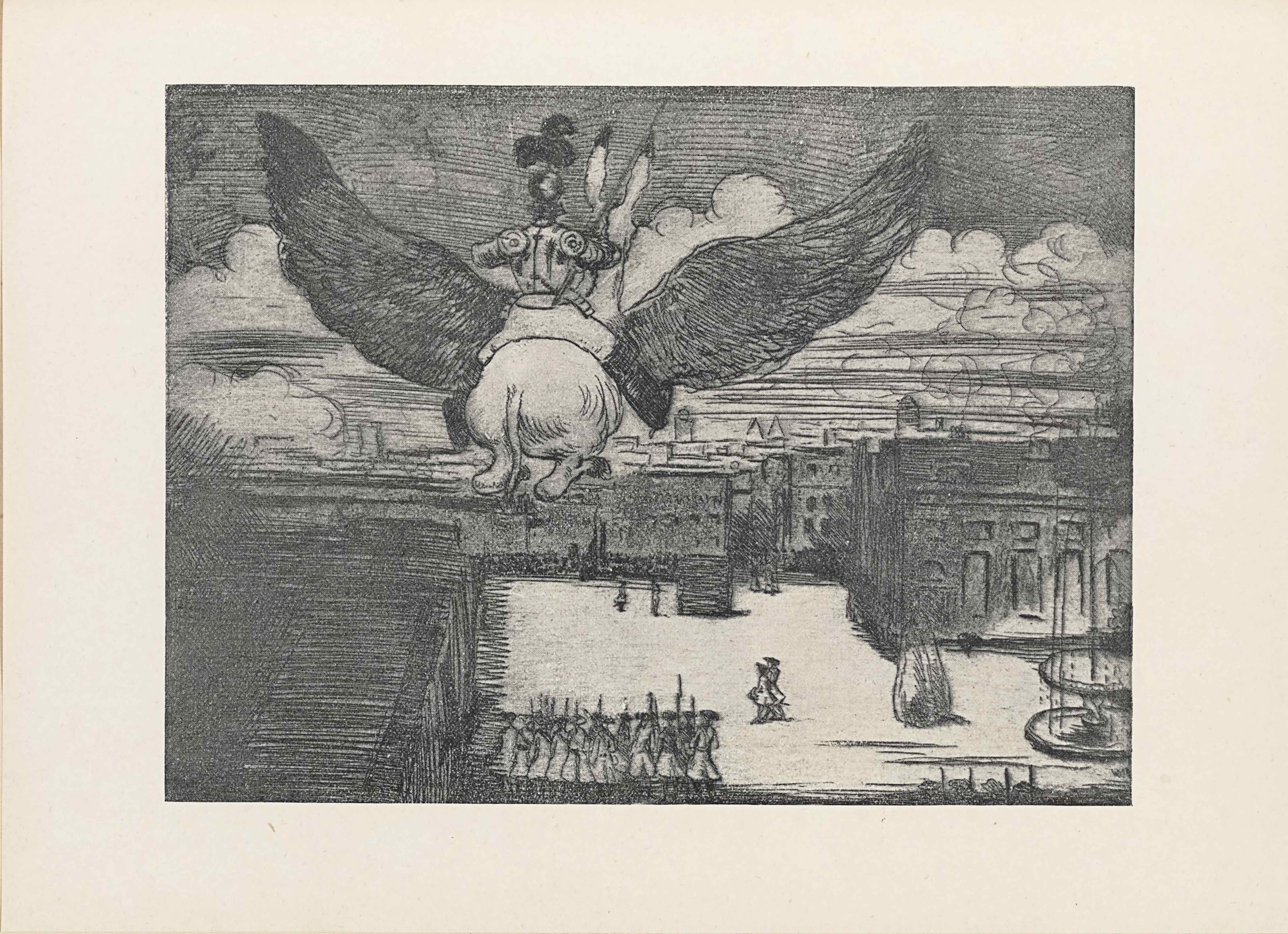The half-tone reproduction of an etching is in landscape orientation. The image shows a flying donkey being ridden by a man in armour up in the air and over a guarded town square. In the top half of the page the flying donkey and armoured man are foregrounded and slightly to the left. The donkey and man are facing away from the viewer, and the donkey's backend is central. The donkey's legs are folded up towards his stomach and his tail hangs long behind him. He has wings attached to his sides that span three-quarters of the page in width. The wings are feathered and alike eagle wings that arc upwards. The man sitting on the donkey has one leg hanging over either side of the donkey's body and is wearing knee-high boots with pants. On the man's top half he wears armour that covers his torso, shoulder, arms, and head: specifically a tasset, fauld, plackart, breastplate, pauldron, rerebrace, couter, vambrace, gauntlet, gorget, helm, and largely plumed comb. The knight also holds a long spear vertically tucked under his right arm. The donkey's tall ears are tipped in black and stick out from behind the man. They are flying above a backgrounded city that fills the bottom half of the page. In the bottom left corner is the roof of a large building. In the central bottom of the page there are about ten men standing in a row within the town square surrounded by two-storey buildings. The group of men are facing away from the viewer and dressed in robes with a soldier cap and a bayonet hung on a sash across their torsos. To the right of the group are two soldiers similarly dressed to the others and walking diagonally and towards the left away from the pack. In the bottom right corner is a large stone slab, perhaps a monument, and to the right of it sits a fountain. Behind the fountain is a large building that rises up to the skyline. To the left of that building and set deeper into the background is a group of buildings that meld into one another and form the far side of the town square. The roofs of the buildings in the distance have many chimneys and smoke plumes out of them into the cloudy sky above. In about the middle of the square is a large box taller than the two men standing to the left of it dressed in the same soldier clothing as the rest of the soldiers. Against the wall of the buildings in the distance seems to be a large group of indiscriminate people watching what is happening at the box. It might be a hanging happening on the opposite side of the box, which is not visible to the viewer.