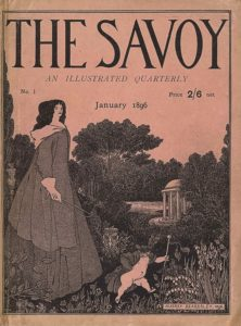 """The cover image, in portrait orientation, combines a line-block reproduction of a pen-and-ink design with letterpress. The title: """"THE SAVOY"""" [caps] appears in the top quarter of the page, with the text """"AN ILLUSTRATED QUARTERLY"""" [caps, italics] centered below. One row down the text """"No. 1"""" is aligned on the left side, with the text """"Price 2/6 net"""" in the same line but aligned to the right. Centered in the line below is the text """"January 1896."""" A tall woman stands in the bottom left foreground, rising up two-thirds of the page to meet the bottom of the title. She is turned to the right and her face appears in two-thirds profile. She is dressed in a full-length gown with horizontal stripes and an overcoat with buttons of the same material on top. She has a white hood attached to her overcoat and dark voluminous hair worn down around her face. In her white-gloved hand is a riding crop at rest. In the central foreground a putto, or young cherub-like boy, appears naked apart from a striped overcoat, plumed hat, and bowed slippers. He is turned to the right with a hand on his hip and his other hand holding a tasseled staff that is taller than he is. Flowers and plants grow up along the bottom edge of the page in the foremost ground. A herm or male statue body stands to the left and in the background of the woman. An ornamented sundial sits in the mid-ground behind the putto. A tree protrudes taller than the rest of the forest in the central background. A pond is just in front of the forest in the mid-ground, with a Stowe rotunda emerging halfway behind trees to the right of the pond. The signature """"AUBREY BEARDSLEY, 1896."""" [caps] appears in the bottom right corner of the page, within a rectangular box. The page is surrounded by a double-lined rectangle."""