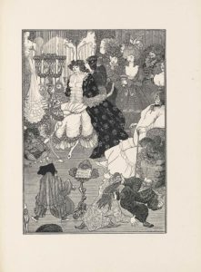 This line-block reproduction of a pen-and-ink drawing is in portrait orientation. The image is of a room or boudoir that includes one woman getting ready and other people standing around her, while small men fight and play music. In the foreground are three small men. In the bottom left corner an ornamented chair legs sticks out slightly. To the right of the chair leg is the first small man, about half the height of any of the women in the image. He has his back to the viewer and is wearing baggy, vertically striped pants, and a long sleeve shirt with ruffles on the edges. He has a hunchback. On his feet he wears slippers with lifted toes. His face is turned slightly to the right and a partial profile is visible. On his head he wears a large dark bonnet. He has a cello in his left hand and a bow in the right. To the right of the man is an ornamented music stand with an open book of sheet music rested on top. To the right of the music stand, in the foreground, are the other two small men. The man closest to the music stand is dressed in slippers and a long tunic that has a spiral pattern embroidered on it. He is leaning to the right and reaching out with both arms to grab the other man. He has elf ears and long hair, some of which is being pulled by the man to the right. He also has the other man's foot kicking at his face. The other man is facing the viewer. He has his right leg lifted up and is in the midst of kicking the other man's face. His right hand is holding the chunk of the other man's hair. He is wearing dark, baggy, horizontally striped pants, and a long sleeve shirt. He has a long pointy beard, mustache, and bushy eyebrows. His mouth is open and in a smile. His head is topped with a huge wig. The front of the wig has the hair pulled straight up vertically and the sides are lined with large coils. At the top of the wig is a garland of flowers and a plume of feathers. With his wig on he takes up nearly half the height of the page. Behind the wig is an olde