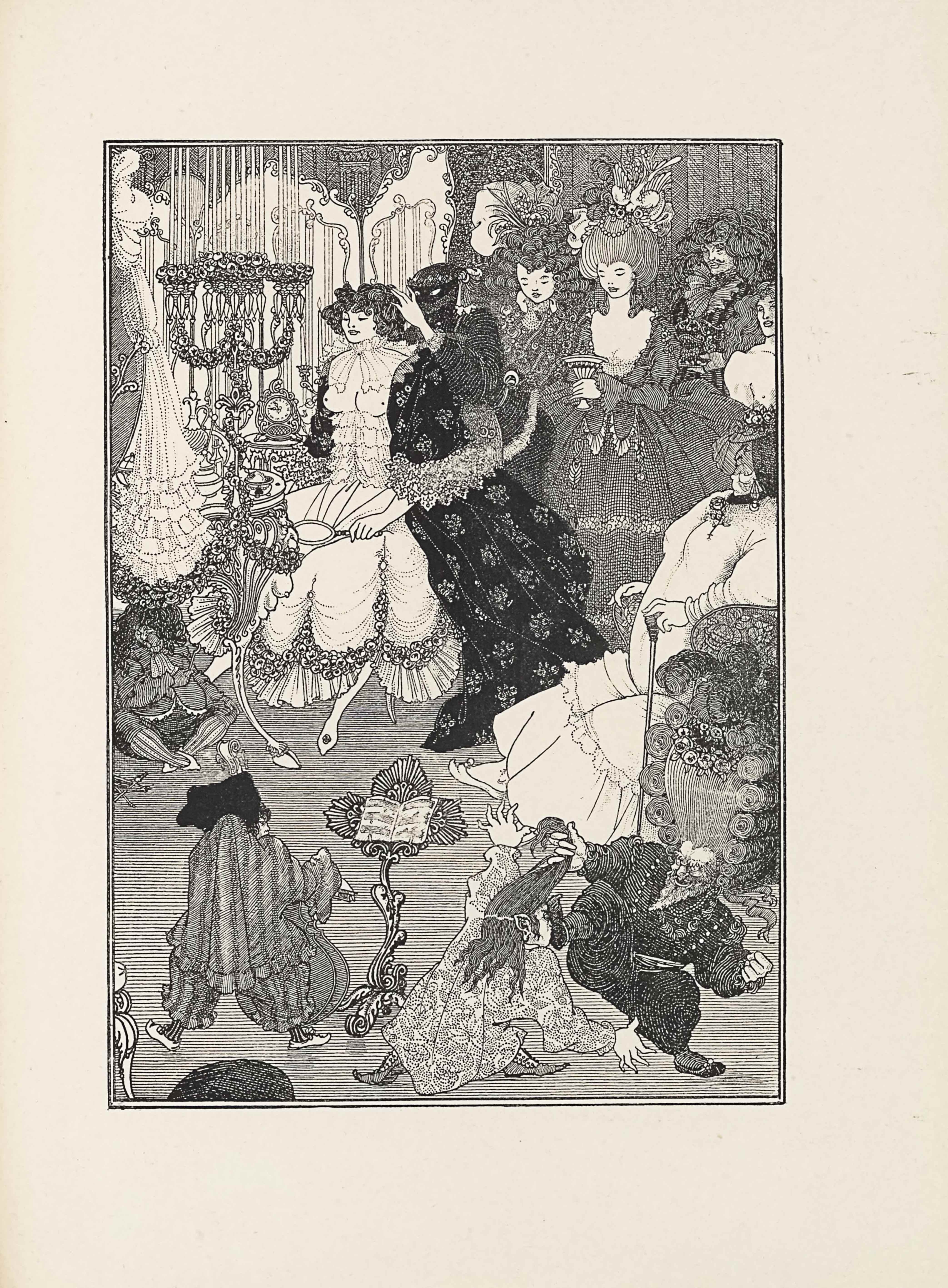 This line-block reproduction of a pen-and-ink drawing is in portrait orientation. The image is of a room or boudoir that includes one woman getting ready and other people standing around her, while small men fight and play music. In the foreground are three small men. In the bottom left corner an ornamented chair legs sticks out slightly. To the right of the chair leg is the first small man, about half the height of any of the women in the image. He has his back to the viewer and is wearing baggy, vertically striped pants, and a long sleeve shirt with ruffles on the edges. He has a hunchback. On his feet he wears slippers with lifted toes. His face is turned slightly to the right and a partial profile is visible. On his head he wears a large dark bonnet. He has a cello in his left hand and a bow in the right. To the right of the man is an ornamented music stand with an open book of sheet music rested on top. To the right of the music stand, in the foreground, are the other two small men. The man closest to the music stand is dressed in slippers and a long tunic that has a spiral pattern embroidered on it. He is leaning to the right and reaching out with both arms to grab the other man. He has elf ears and long hair, some of which is being pulled by the man to the right. He also has the other man's foot kicking at his face. The other man is facing the viewer. He has his right leg lifted up and is in the midst of kicking the other man's face. His right hand is holding the chunk of the other man's hair. He is wearing dark, baggy, horizontally striped pants, and a long sleeve shirt. He has a long pointy beard, mustache, and bushy eyebrows. His mouth is open and in a smile. His head is topped with a huge wig. The front of the wig has the hair pulled straight up vertically and the sides are lined with large coils. At the top of the wig is a garland of flowers and a plume of feathers. With his wig on he takes up nearly half the height of the page. Behind the wig is an older woman seated in a chair, facing to the left of the page. She is heavier-set and wearing slippers with a long gown that has a line of ruffles on the skirt. She has her arms on the chair armrests and in her left hand is a walking stick resting on the ground. She has a flower pinned to her chest and her face appears in profile. The back of her head is cut off by the frame. She is wearing tassel earrings and a headpiece with a few flowers on top and a light veil hanging down to her chin in front of her face. On the far left side of the page, also in the mid-ground, is a small man seated on the floor with his legs crossed. He has on vertically striped tights and a plain pair of slippers. He is wearing short pants and a top coat with ruffles at the bottom. He wears a large necktie and a big, dark, and curly wig. He seems to be underneath a table. Directly to the right of him is a tall ornamental candle holder that has flower garlands wrapped up around it and crystal pieces hanging off at the top. Above the man and to the left of the candle holder, a dress is hanging from a coat rack that is mostly out of the frame. The dress is long and ruffled. A table, the one that the man seems to be underneath, sits to the right of the dress and is topped with a perfume flask and a small jewelry box. A woman sits in a chair to the right of it, turned towards the viewer but slightly angled towards the left side of the page. She is dressed in a long skirt with a ruffled bottom and flower garlands that loop around above the ruffles. She has on a corset that rises to just below her chest. Her breasts are shown bare. Around her neck she has a transparent chiffon bow. She has on an open dressing gown decorated with a floral design, and it falls all the way to the ground. Her hair is short and curly, and a person to her right has their hands in it. In her left hand and resting on her lap is a handheld mirror. Behind the woman and taking up the top left corner of the page is a three-piece ornamented standing mirror, and in front of it are the long candles coming from the top of the ornamented holder. A wall is directly behind the mirror. The person who has their hands in the seated woman's hair is dressed in all black. Their face is completed covered in a mask except for their eyes. The person is wearing a tight long sleeve shirt and pants. More in the background and to the right of the dark figure are four people standing. The person on the far left is a woman, visible only from the waist up and wearing a floral patterned gown. She has on a tight scarf and is looking towards the left side of the page at the masked figure. She has on a large wig of coiled hair with a big leaf protruding out with an assortment of other florals on top. To her right is a woman fully visible. She is wearing a ballroom gown with a big skirt and long sleeves. The dress has a low neckline and she is holding a goblet with her left hand. She has on a big wig with straight hair and a chain of pearls hangs down from the top where many flowers and plumes rise up. To her right, the upper body of a man is visible. He is turned towards the left side of the page with a three-quarters profile visible. He has on a neck piece with big ruffles and holds a decorated box. He has a small twirled mustache and long wavy hair. To the right of him is half the upper body of another man, cut off by the frame. This man is shirtless and his head is turned to the left side of the page. He has long wavy hair. Behind the four figures that make up the right side background is a wall.