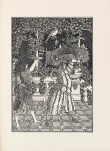 This line-block reproduction of a pen-and-ink drawing is in portrait orientation. It shows two figures walking on a balcony outdoors towards the right side of the page and holding bowls above their heads. In the foreground the two figures stand and reach the halfway point of the page in height. The figure on the left is a woman, turned to face the right, showing only the profile of her face and body. She is wearing slippers with a fabric ball on the toe. She has on short pants striped horizontally which stop just below her knee. She is also wearing a short sleeve shirt and the sleeves are capped off at the edge with braided fabric. There is a decorative floral design on her top of flower bulbs floating around. At her waist is a shawl made of darker fabric than the rest of her outfit. The shawl has a vine traversing it with embroidered flowers blooming from it. She has a fabric belt that secures the shawl at her hips. From this belt, a chain hangs down and holds a long fan dangling horizontally in the air. Her hair falls down to her mid-back in dark waves. Her arms are raised above and in front of her in about a ninety degree angle. In her upturned hands is a shallow wave-patterned bowl. To the right of the woman is a figure with a male face and hooves who is similarly turned to the right and visible in profile. He has horse hooves and horse legs emerging from the bottom of his baggy pants. The pants and his long sleeve shirt are identically patterned with vertical lines of flower garlands. A sash of material is tied around his waist and knotted at his back. He has long and pointy elf-like ears that arch backwards. His nose is downturned and stubby. He has on a pointed bonnet with the similar flower garland pattern to his clothing. From the back of his head a long curved stick points out and upwards. On this stick there are several ornaments that look like flowers stacked one upon the other. Atop the stick a quail is perched. The quail looks down towards the woman. T