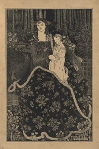"""This line-block reproduction of a pen-and-ink drawing is in portrait orientation. The image shows a frontally facing woman sitting on a bench, holding a young child on her lap in a garden before a forest. At the feet of the woman, and in the foreground, are small sproutings of flowers and plants. The bench is placed diagonally at the centre of the picture plane, going up towards the right, The seated woman is wearing a flowing gown with long sleeves and a square neckline. Around her skirt is a large floral patterned blanket or robe that is edged in fur. The woman has her arms bent up to hold the young child on her left knee. She is facing the viewer but turned slightly to the left of the page. She has on a crown with five points sticking up in ascending and then mirrored descending heights protruding from the back of her head. The same set of five points stick out horizontally from both sides of her head as well. Her hair falls past her shoulders in dark waves. On her forehead a band wraps horizontally around with a small ornamented disk at the front and centre. The young child on her lap is wearing a light coloured and collared robe with a small necktie loosely tied. The child faces to the left of the page and shows about a three-quarters profile. The child has short curly hair. Behind the child and to the right is a sack that is tied off with a tassel rope. To the right of the sack in the background is a piece of lattice. To the left of the child and woman is another piece of the lattice further back in the forest than the other. In front of the lattice on the left is a dark area with a bush of roses blooming. Trees fill the background across the top third of the page and only their trunks are visible within the frame. There is black darkness between the trunks in the background. The name """"AUBREY BEARDSLEY"""" [caps] appears in the bottom right corner, framed within a single-lined border."""