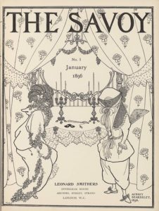 """The title-page image, in portrait orientation, combines a line-block reproduction of a pen-and-ink design with letterpress. The title, """"THE SAVOY"""" [caps], appears in the top fifth of the page. At the top of the page behind the title, curtains adorned with rose flowers are split open, spanning the width of the page to descend the margins on each side. The curtains are tied off to the side with polka dotted fabric cut in decorative points jutting down at about the top third of the page. The curtains extend to nearly the base of the page, taking up a quarter of the page in width on each side. Behind the split curtains, and covered slightly by them, is an ornamented mirror that starts at the base of the title and extends down until the halfway point on the page, taking up the middle third of the page in width. The text """"No. 1"""" appears within the mirror below two draped garlands of flowers. Also within the mirror is the text """"January"""" and then, one line below, the text: """"No. 1,"""" and one line down again from that is the text """"1896."""" Below and in front of the mirror, in the mid-ground, is a table that holds two symmetrically placed three-tiered candlestick holders with lit candles extending up to the halfway point on the mirror. On the table between the candlestick holders is a black mask and a closed up, tasseled fan. The table is covered with a plain cloth that has two layers of doilies at the edge falling in front of the table. Two bows sit on the edge of the table cloth in front of each of the two candlestick holders. Standing in the foreground, to the left and right of the table, are two women. They take up just over half the page in height and about a quarter of the width each. The woman on the left is leaning forward, facing to the right, and shows a two-thirds profile of her face. She is dressed in a plain, baggy, hooded long-sleeve top and a long skirt. Bunches of flowers are tied around her neck and also at the hem of her shirt sleeve, and draped in two layers on"""