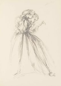 A portrait-oriented lithograph of two full-length female figures leaning forward in profile, apparently examining a piece of paper. With sketch-like strokes the women are centered in the page and face to the right with only their side facial profiles visible. The woman in the foreground is dressed in a large long-sleeve gown that has a full skirt taking up a large portion of the bottom half of the page. Her hair is pulled back in a sort of low ponytail or bun. The woman behind is only visible by her head and outstretched arm. Her gaze is focused downwards, with her head at a more severe tilt than the woman in the foreground. They both look down at the hand of the woman in the background, which appears to be holding a piece of paper and a small plant. The woman in front points towards the object with her right hand.
