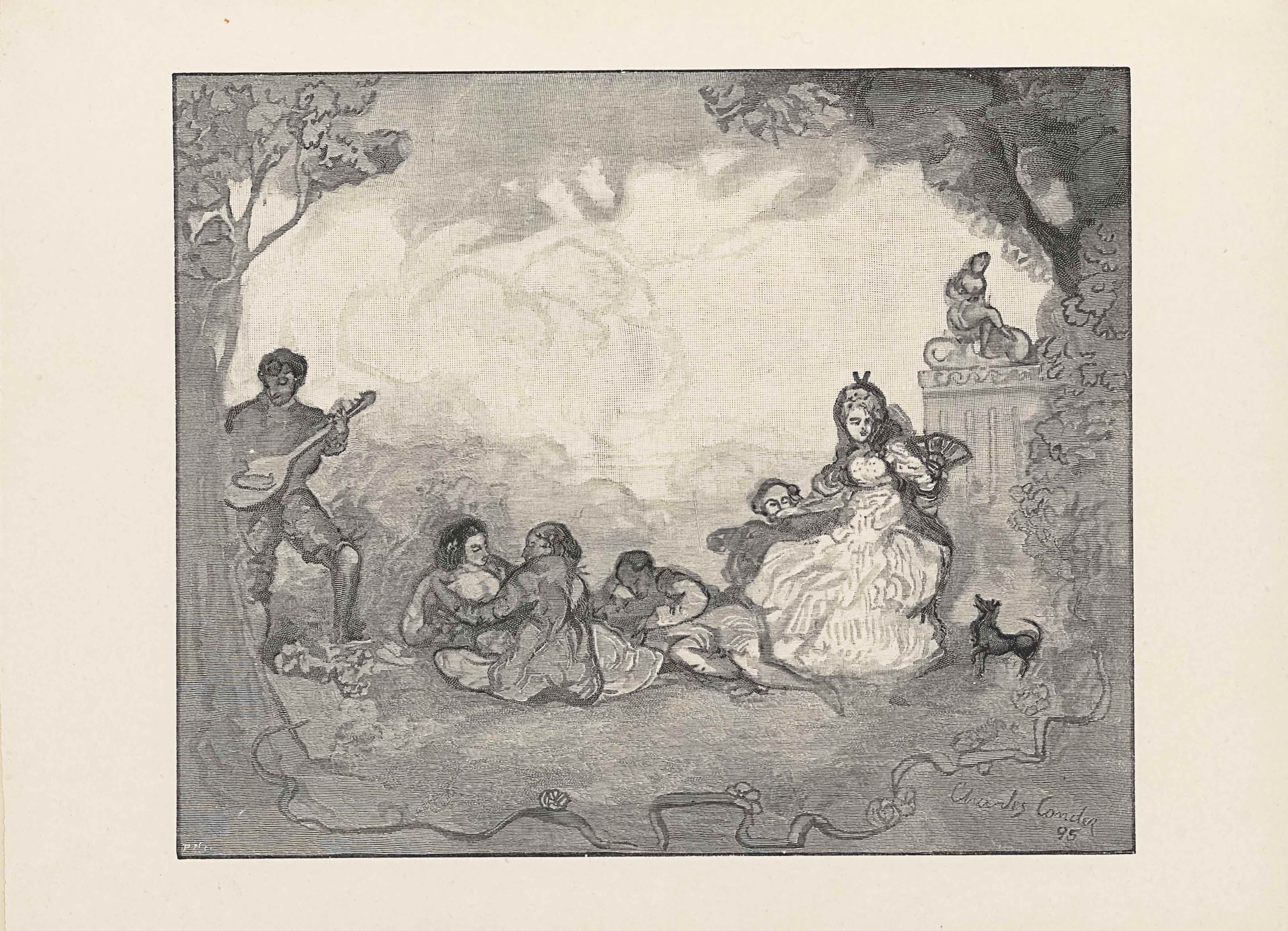 "The wood engraving from a water colour drawing is presented in landscape orientation. A single-lined rectangular border outlines a scene filled with six people in a forest. In the foreground is a curved line that looks like a tree root crossing from the left to the right side of the image with flowers budding intermittently. A tree grows up the left side of the image, half in view of the frame. In the mid-ground appear the six people. Immediately to the right of the tree on the left side of the page is a man standing and playing the mandoline, plainly clothed in a long-sleeve shirt, breeches, and bare feet. To the right of him are a man and a woman facing and holding one another while seated on the ground. The man appears to be shirtless, with the rest of his body blocked by the woman who leans forward in a long dress, with her back to the viewer. On the right side of them is a man leaned back on his right elbow looking at a book with his legs sprawled out. The last two figures are to the right of the reader. A man with only his head peeking out is behind a bench on which a woman is seated. She sits in a long white dress with a dark overcoat and hair flowing down around a hairpiece. She has a fan opened in her left hand and is poised to wave it. A small, black dog to the right of the woman looks up at her fan. In the background of the woman and dog on the far right of the page is a parthenon-style building with a female statue seated on the flat roof. A tree sprouts up behind and mid-ground bushes partially obstruct the right side of the building from view. In the central background and taking up the top third of the page is the faint outline of a mountainous landscape and a swirling, cloudy sky. The artist's signature appears in the bottom right corner of the piece as: ""Charles Conder"" on a diagonal aiming down to the right. The text: ""95"" appears underneath the name but aligned to the right."