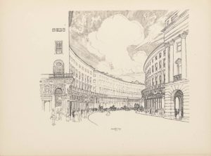 """The line block reproduction of a pen-and-ink drawing is landscape oriented. The image is a street view of Regent Street in London, from the perspective of a pedestrian on the sidewalk. The side of a building is seen from this perspective with an arched doorway and ornamented detailing above in the stone work. Above the doorway sits a balcony with an arched door leading out. A window sits above the balcony, and a set of three windows appear above. To the right of the building is a sidewalk and then the road, which travels straight towards the mid-ground and then curves off to the right. Many pedestrians line the sidewalk in front of the building, which curves along the left side of the road. The building ends, leaving a slight gap before the next identical building begins and follows the same curve out of sight. On the opposite side of the road is a mirrored sidewalk and building set-up. The building entrance on the far right is comprised of a large archway made of big blocks of stone. A set of three pillars is situated on top of the arch, and support a protruding roof. Windows line the front of the buildings on both sides of the street in three rows, with smaller windows in the top row. Along the side of the buildings on the left, about a third of the way up, train tracks run along the curve. In the sky that takes up the central background of the image, a large cloud that looks mushroom-like is blooming up, and the sky around seems to be exploding outwards in straight lines. Aligned in the centre on the bottom edge of the image is the text: """"JOSEPH PENNELL"""" [caps]. There is no border around the image."""