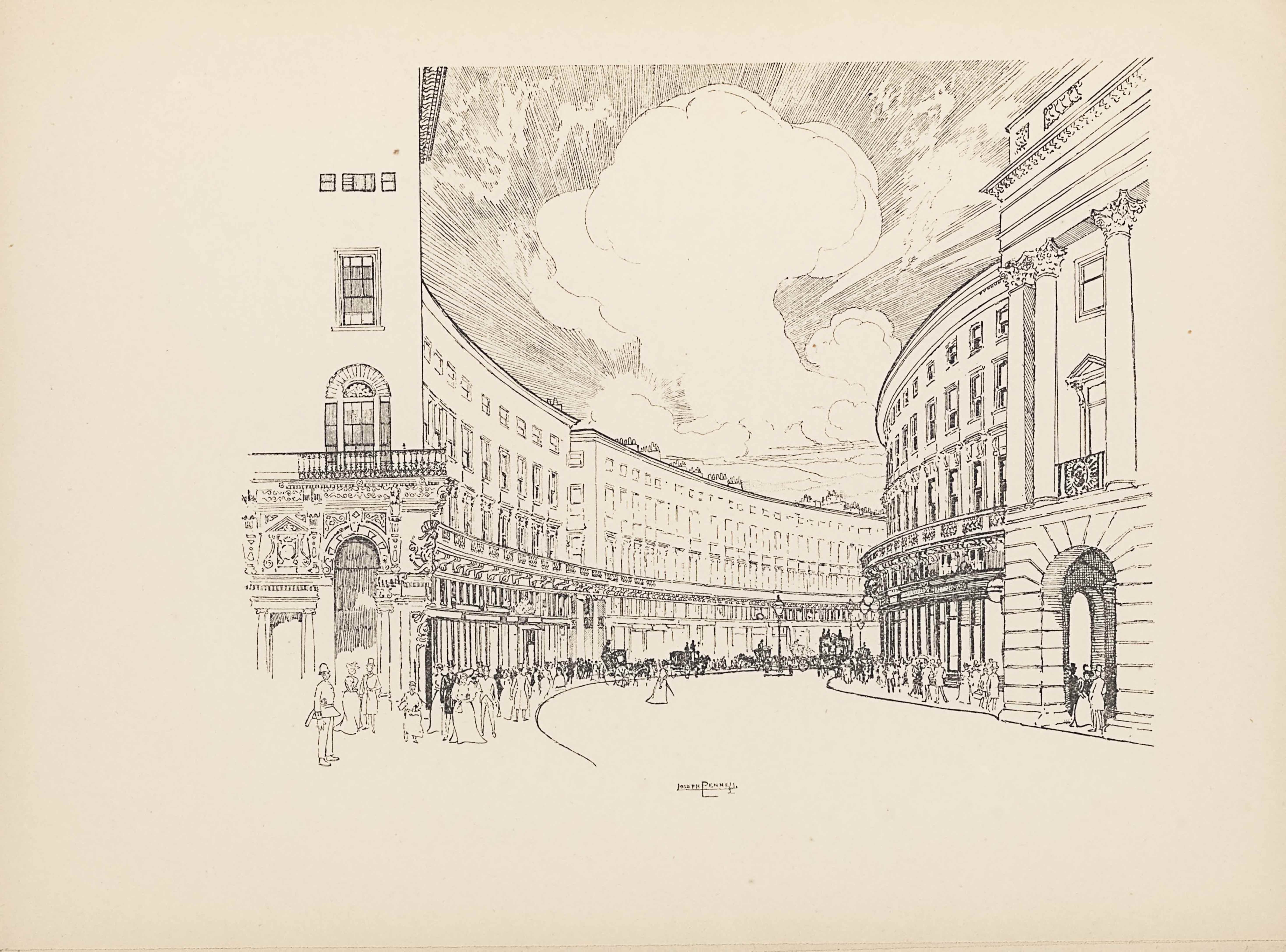 "The line block reproduction of a pen-and-ink drawing is landscape oriented. The image is a street view of Regent Street in London, from the perspective of a pedestrian on the sidewalk. The side of a building is seen from this perspective with an arched doorway and ornamented detailing above in the stone work. Above the doorway sits a balcony with an arched door leading out. A window sits above the balcony, and a set of three windows appear above. To the right of the building is a sidewalk and then the road, which travels straight towards the mid-ground and then curves off to the right. Many pedestrians line the sidewalk in front of the building, which curves along the left side of the road. The building ends, leaving a slight gap before the next identical building begins and follows the same curve out of sight. On the opposite side of the road is a mirrored sidewalk and building set-up. The building entrance on the far right is comprised of a large archway made of big blocks of stone. A set of three pillars is situated on top of the arch, and support a protruding roof. Windows line the front of the buildings on both sides of the street in three rows, with smaller windows in the top row. Along the side of the buildings on the left, about a third of the way up, train tracks run along the curve. In the sky that takes up the central background of the image, a large cloud that looks mushroom-like is blooming up, and the sky around seems to be exploding outwards in straight lines. Aligned in the centre on the bottom edge of the image is the text: ""JOSEPH PENNELL"" [caps]. There is no border around the image."