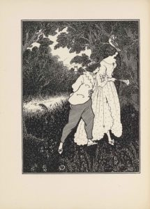 The line block reproduction of a pen-and-ink drawing is in portrait orientation. A woman and a small man or boy are walking through a forest. In the foreground for about one-fifth of the page are plants and flowers. In the mid-ground centrally is the shorter man or boy, shown in mid-step and in profile. He takes up the middle half of the page and is facing in portrait towards the right side. He is wearing slippers with bows on the toe of each, pants, and a lace collared overcoat tied together in the middle with a bow. A scarf is wrapped around his neck and tucked into the coat. His hair is short and curly and he wears a boater-style hat with a ribbon around the crown. Behind him and slightly to the right is a tall woman. This woman takes up about three-quarters of the page in height and together with the man they span about one-third of the page in width. She is also facing to the right and taking a step in that direction. She has on bow slippers as well, but is wearing a long dress. The dress has a ruffled edge on the skirt bottom and sleeve, with polka dots scattered about and a large bow on the arm cuff. The dress has a wide boat neck. In her right hand is a mostly closed fan with feathering on the top edge. Her hair is pulled up and a floral hair piece is on the right side of her head. She is wearing a large brimmed sun hat, tilted down towards her face and it is has flowers around the crown. In the background on the right behind the woman is a tall tree with an exposed trunk and leaves that are above the frame. To the left in the background is a light path headed from the midline of the left side towards the central vanishing point. On either side of the path is more foliage, with trees rising up behind and leaving only a small space for the light sky to come through. The small pointed roof of a building peeks out from above the trees in the centre of the background.