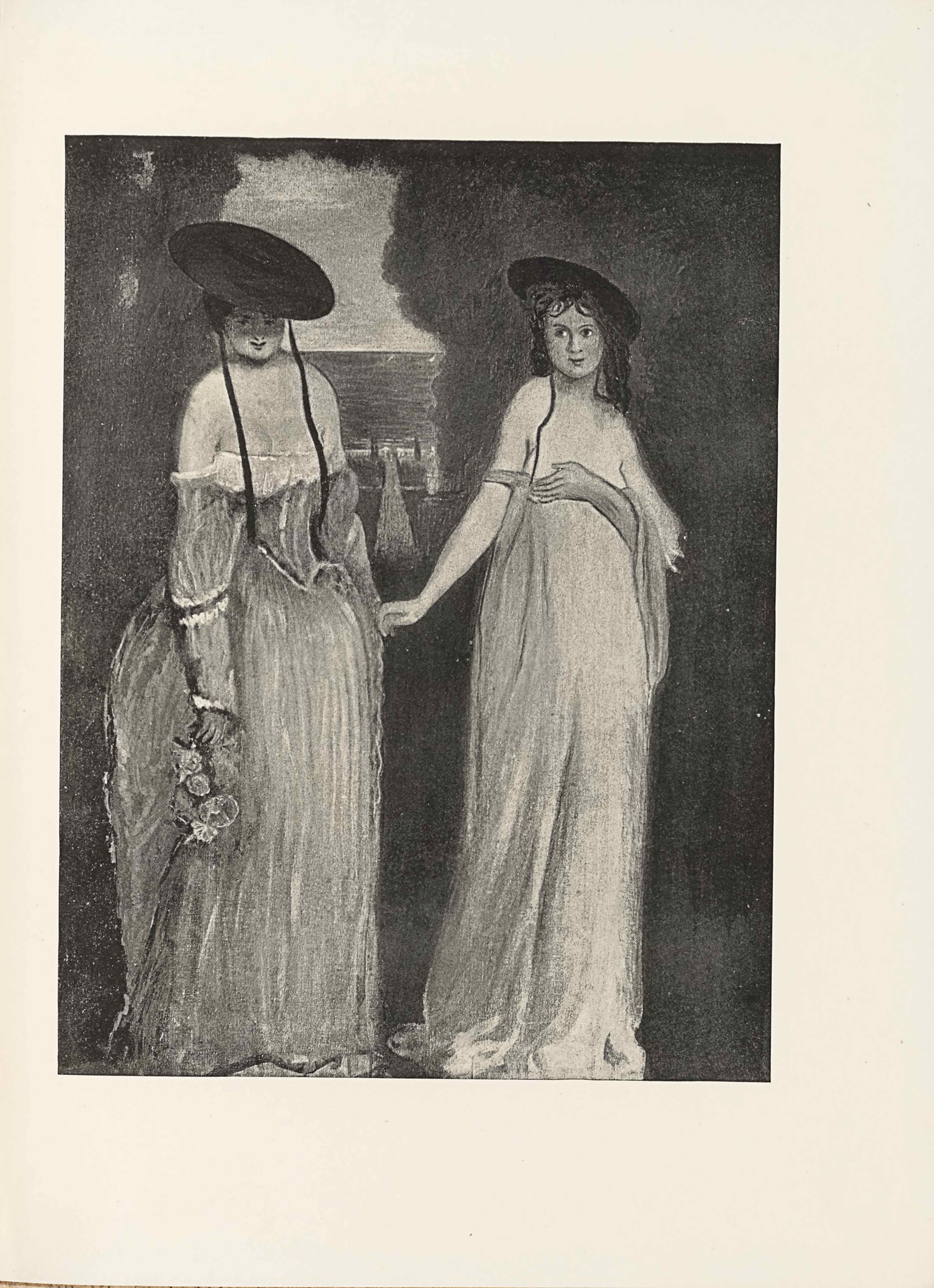 The halftone image is in portrait orientation. The image shows two young women or girls standing in an outdoor scene, taking up almost the whole height of the picture plane. The woman on the left side is standing turned slightly to the right. She is wearing a long gown that has a very low cut and off-the-shoulder style neckline. The dress flows out at the waist into a mid-size skirt. The top of the dress is a corset. The shoulderless sleeves fall down to her wrist and have a single horizontal stripe of ruffles. In her right hand is a bouquet of flowers hanging upside down. Her chest is bare, apart from the two ribbons hanging down from a wide brimmed hat she wears slanted down and casting a shadow over her face. Her hair is pulled back underneath the hat. She has slightly upturned lips. Her eyes stare straight ahead at the viewer. Her left arm is pulled behind her slightly. The other woman, who is on the right side, is standing turned slightly to the right side of the page as well. She is wearing a very loose dress, one that is low-cut and appears to fall below her breasts. There is one off-the-shoulder sleeve wrapped around her right arm, but none appears on her left arm. Her right hand is extended out to the side and seems to reach towards the other woman's left hand. Her left arm is bent up at a ninety degree angle and is holding the dress at the front and covering her breasts. A bit of excess material is draped over top of this left arm and hangs down her front. She also has on a brimmed hat, a slightly smaller one than the other woman's. The hat has two ribbons falling down from it and the right ribbon falls over her chest while the other is tucked behind her left shoulder. Her slightly wavy hair falls down behind her shoulders. In the middle of the two women and backgrounded is a sailboat. This boat floats in the water that extends out to the skyline in the background. There is only a small opening to see the boat and the water behind it though, for the rest of the background is filled with a dark hedge.