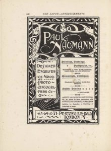 """The lineblock image is in portrait orientation. The image is an advertisement for Paul Naumann's design and engraving services with a description of his guidelines and contact information. The background of the text is a drawing of a frame and an image within that extends over top of the borderlines. The image has a single black line border with a white line border about one and half its thickness on the inside edge. On the inside of the white border is the frame designed with ornamental leaves in the corners and wave-like diagonal lines that are grouped in twos and then mirrored in the space between the corners. There are also dots in the centre of each mirrored pair of wave lines. The leaves match each other identically in the top left and rights corners, and the leaves distinctly match in the bottom left and right corners. The top corners have white leaves like fleur-de-lis, with a central stem and then three leaves jutting off in symmetry. The bottom corner leaves have only two leaves jutting off from a central ball. These border decorations are all white and the inverted colour of the black background. There is a thin white rectangular border forming the inside edge of the frame, which distinguishes between the border with its decorations and the image within. The top third of the inner image is an uneven, curved frame around the name """"PAUL NAUMANN"""" [caps] that appears in text that is more than double the size of any other text on the page. The smaller name frame spills over the edges of the whole page frame. The fancy lettering that the name appears in has serifs and the stems on the letter """"N"""" extend far out to the left and right of the letter. The lettering is white on a black background within the frame, and this frame is made of white curved lines that join together in curlicues at the corners. There are additional curlicues added on the left side of this frame. In the small space between the top of the name frame and the external frame is a woman's face a"""