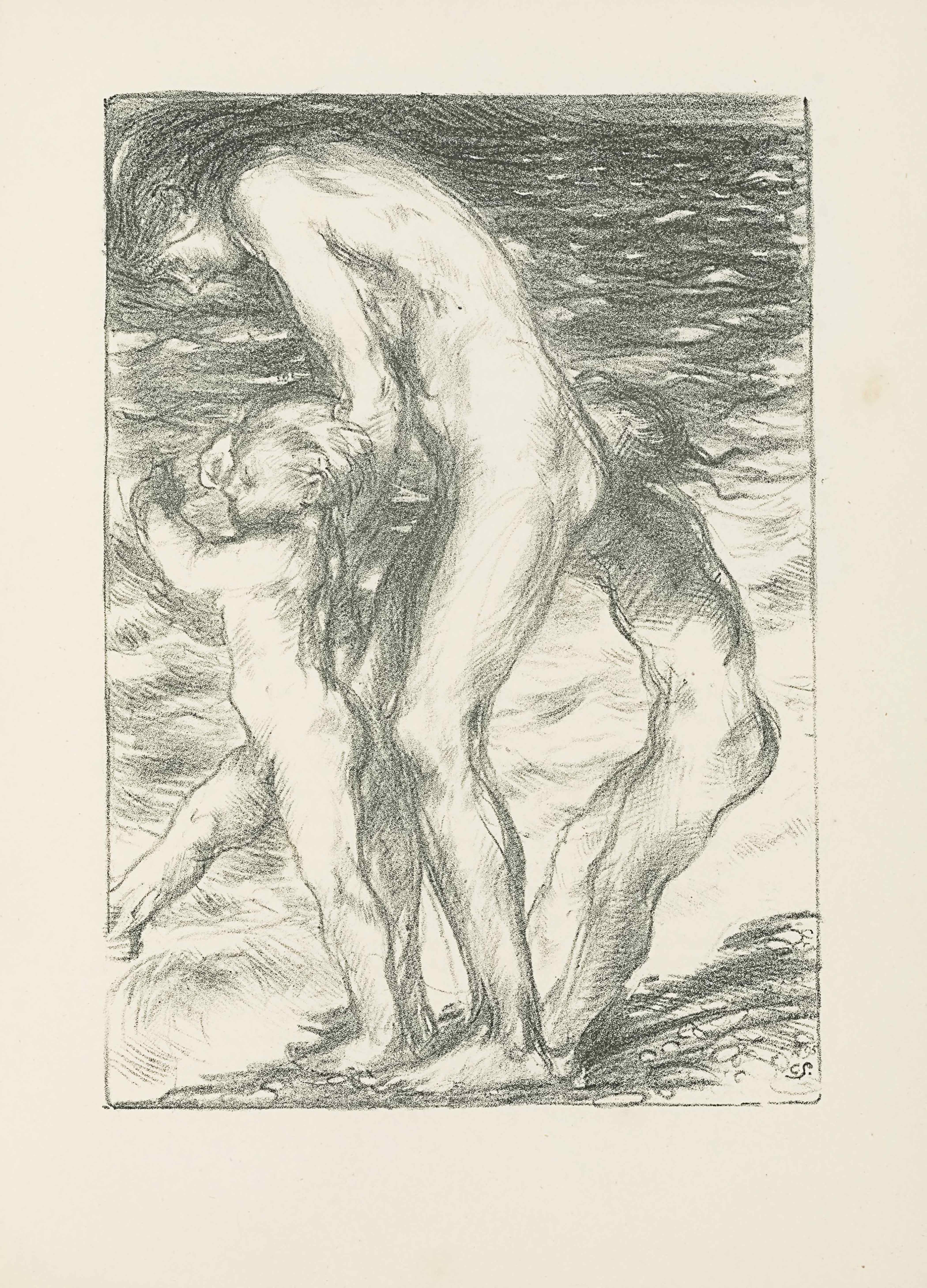 "This lithograph is in portrait orientation. The image shows three figures standing naked in profile on the shore of an ocean. The image is bordered by a single line. In the bottom right corner the artist's initials are lightly scrawled: ""CS."" [caps]. The central person in the centre is an adult female, standing at almost double the height of the two child figures in front and behind of her body and on either side of her. The beach that they stand on takes up a very small portion of the page, cutting diagonally up to the right and only taking up about a tenth of the page as a whole. A few small rocks and stones appear in the sand. The white wave caps from the ocean are touching the figures' toes. The wavy water takes up the entirety of the background, all the way to the top edge of the page with only a slight glimpse of skyline beyond the water in the top right corner. The female figure is drawn hunched forward with her arms extended down and out. Her left arm is holding the boy's arm in front of her and her right arm is covered by her body but seems to be holding the hand of the child behind and to the right of her. She has a muscular form and long dark hair. Her head is positioned to look straight down at the boy in front of her. The boy in front of her, on the left side of the page, is light-haired and mid-step. His left leg is planted in the sand while his right is extended straight out and forward His left arm is swinging up and bent at the elbow. His right arm is out of view and he looks to be holding hands with the woman. The child behind the woman and to the right is visible only by their body and the back of their head: their face is covered by the woman's body. The child is holding onto the woman's right arm and leaning backwards, bent at the waist with feet planted in front of them. Long hair falls down the child's back to the waist. The hair seems to be wet."