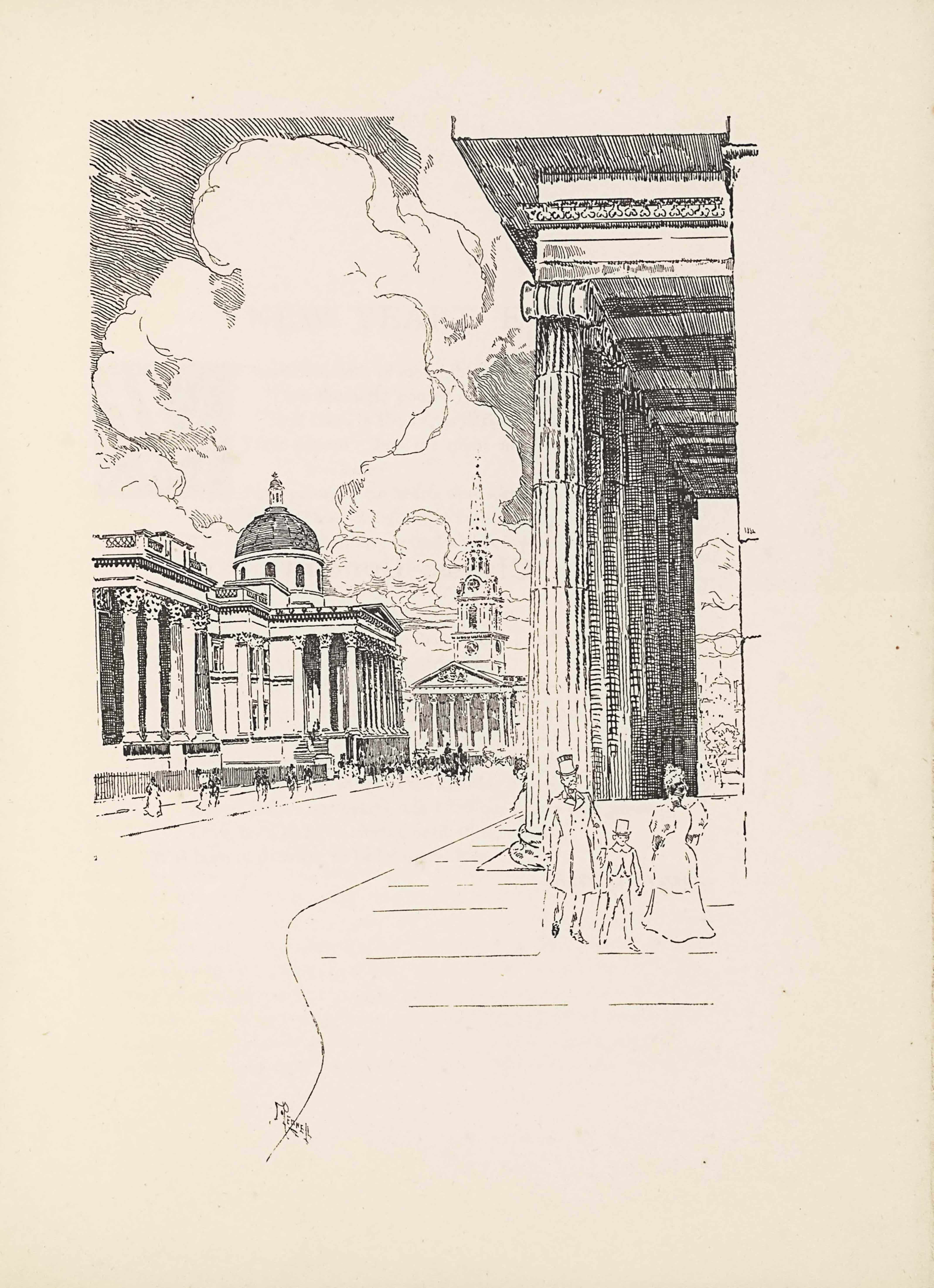 "The line block image is in portrait orientation. The viewer stands at street level, looking from the sidewalk into the city of London toward the Dome of St Paul's Cathedral. The foreground is cut into two sections: the road is pictured on the left third, and the sidewalk on the right two-thirds. The sidewalk has horizontal lines every few feet. A third of the way up the page, on the right-hand side, a man, child , and woman walk toward the viewer. The man, situated on the left of this group, is wearing a top hat and a long double-breasted overcoat that falls to just below his knees. He is mid-step and has his chest puffed forward with his hands out slightly from his body. The boy beside him on the right is half his height, also wearing a top hat, and cut-away coat and pants. The woman to the right is wearing a floor-length dress with puffy sleeves that end at her elbow. She is wearing a hat. Behind these three figures on the right side of the page is the profile of a large building with eight tall pillars holding up a roof that juts out over the sidewalk. The roof is partially visible at the top edge of the page, and the building itself is outside the frame on the right side of the page. Looking straight through the space between the pillars at the building front, the buildings at the end of the street are visible. The road is empty and free of any vehicles. In the far distance, a coach and horses appear on the road, headed off into the distance. In the mid-ground on the left side of the page is another pillared building, but this one looks much smaller because of perspective. The pillars hold up a roof that extends further out to the road in some spots, and at the base of the pillars is an elevation that is raised above the ground at least double the height of a person. The building has a sidewalk in front of it and on the sidewalk groups of people gather, walking towards the distance. In the distance on the left side of the page a dome protrudes above the roof of the pillared building. In the central background is a church steeple with six pillars holding up an A-line roof at the front. The steeple has an extremely tall and pointed column rising up from the middle, above two stacked square rooms that are smaller than the main building. On the front of the bottom stacked room is a clock face that appears just above the A-line roof. Above the clock face, in the second stacked room is a large front-facing window. Just above the window is a circular windowed room. On top of the stacked rooms is the pointed extension of a column, topped by a weathervane or cross. The sky behind the city scape has huge clouds blooming up and out. In the very foreground, on the line separating sidewalk from road, is the artist's signature: ""PENNELL"" [caps] with two lines underlining the partial text ""ENNE"" [caps] in the name."
