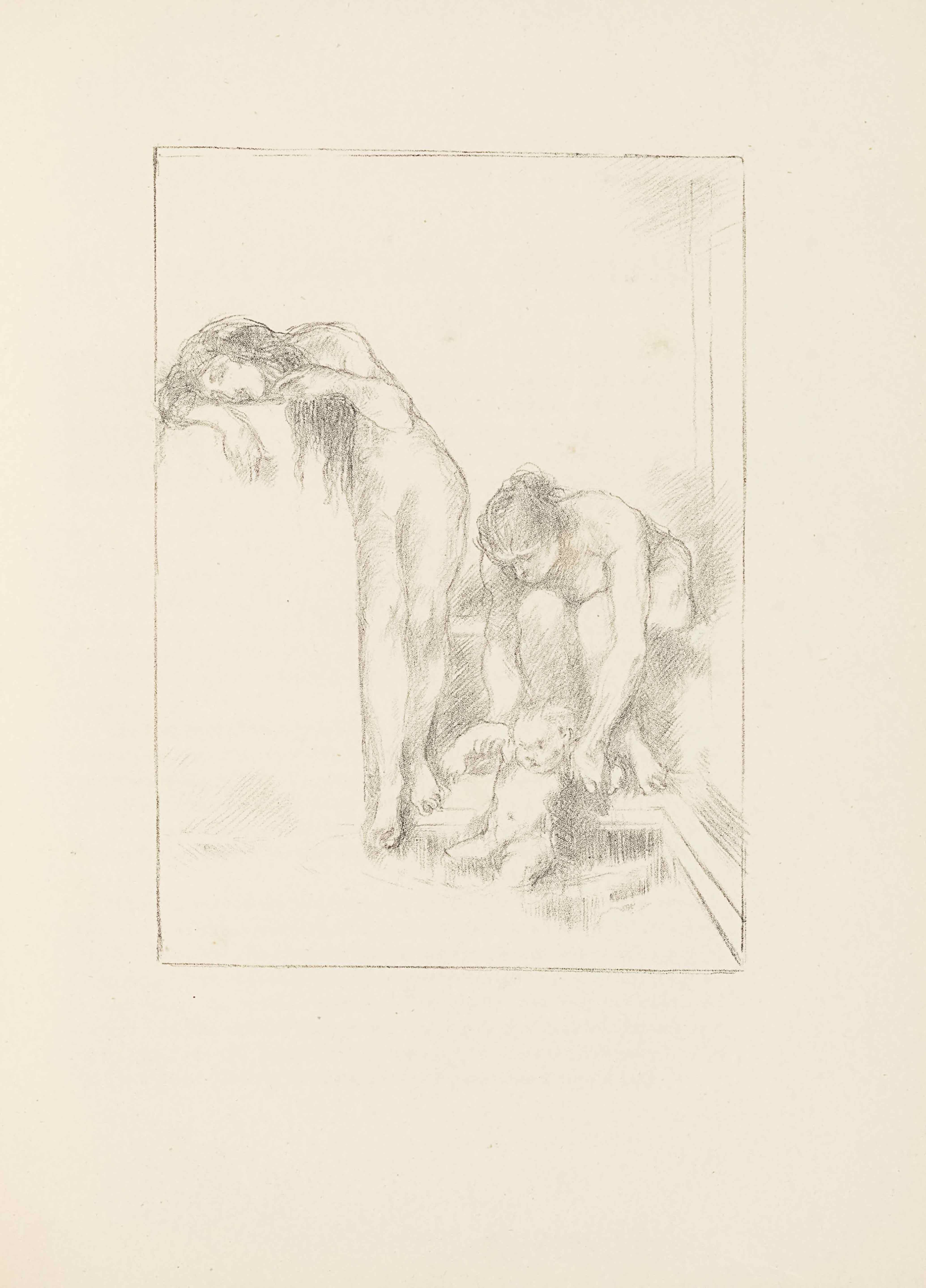This lithograph appears in portrait orientation, within a light frame. The image shows three naked figures bathing: two women and a baby. The woman on the left is standing beside a large pillar or block and resting her head on its top. Her body faces forward to the viewer, and her right arm is bent and resting on top of the block, with her head rested horizontally on top. Her left arm is also bent, holding strands of her long hair back. She has long and wavy dark hair. Her face is inexpressive, showing only open eyes and a closed mouth. To her right is a woman sitting on a plain box or step that is shaded slightly darker than the surrounding area. She has long hair pulled back into a knot and is leaning forward with arms extended down and out to hold up the baby in the pool below. The baby sits on the edge of the pool with its body facing forwards to the viewer slightly turned to the left, with legs spread and arms extended out to the side. The arms are held out by the seated woman above. The baby has light short hair.