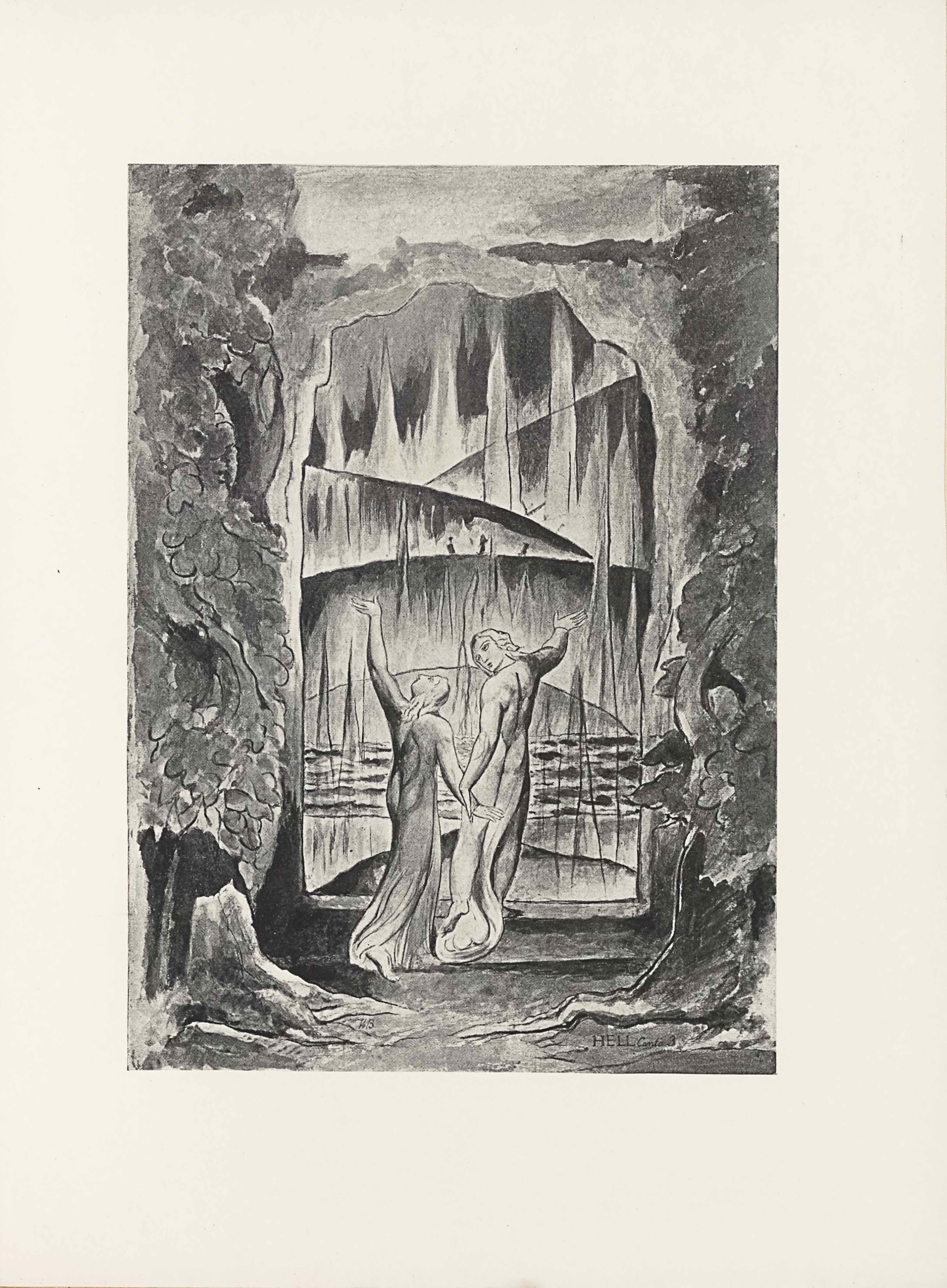 """This halftone reproduction of a water-colour drawing by William Blake illustrating Dante's Inferno appears in portrait orientation. The image shows two central figures with their back to the viewer standing at the gate [""""portico""""] of hell and about to enter. On either side of the portal is a tall tree with leaves swirling around the trunk, extending the entire height of the image.. The mirroring trees have roots that creep towards each other toward the centre bottom of the image. The two lightly robed figures [the poets Dante and Virgil] stand in front of these roots, on a threshold that leads into a vision of hell. The figure on the left is standing with his left arm lifted straight up and palm turned up to the sky. He is in mid-step, with his right leg lagging slightly behind and lifted as if it were about to step forwards. His face is turned to look up at his left hand, and his light-coloured hair falls down his back. His right arm is extended down and slightly to his right, reaching towards the other figure. The other figure mirrors the first in having the outside arm, this time their right arm, extended up and out to the side. This figure has shorter hair, and has their face turned toward the other figure, giving the viewer a three-quarters profile. Both figures are wearing a transparent veil of material surrounding their legs and draping around their feet. Through the threshold of the gates of hell there is a path, a sea, and a series of five layers of hills and jagged triangular shapes. The hills are shaded in an ombre effect, going from dark at the top edge to light near the bottom. There appears three roughly sketched figures atop the second hill from the front. Across the surface of the portal appears various random streaks of shading. In the small section above the portal is the open sky. In the bottom right corner of the page appears the text: """"HELL [caps] Canto 3"""" [citing Dante's Inferno]."""