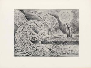 This halftone reproduction of a steel-plate engraving by William Blake is in landscape orientation. The image shows a scene from Dante's Inferno, in which the poet, Dante, sees the shades of the adulterous lovers, Paolo and Francesca, in the first circle of hell, where the damned writhe in endless torment. These three figures form the centre of the composition. Dante is positioned In the mid-ground to the right of centre on a piece of rocky land jutting out into a sea. He is wearing a long robe and has long hair; his hands are out to the side, palms down. He stands facing the viewer with his body slightly turned to the left of the page, and bent down at the waist. He is looking down at a body that lies horizontally at his feet. The body is lying prone with its arms at its sides and face to the sky. The land on which he stands is covered by some water from the crashing waves. Dante turns to the shades of Paolo and Francesca, in an enclosed flame beside and above him. Paolo, is on the left and Francesca on the right; they are holding each other in their arms. Francesca, the woman, is wearing a flowing dress and Paolo, the man, appears to be naked. To the right of the flame that encloses them, and above the figure of Dante, in the top right corner, is a bright sun-like circle with two figures inside of it. Within the circle is one faceless figure seated on the left and another seated to the right; they appear to be on a rock. Dark lines extend out to the left and right, and then extend down to the sealine and up to the top of the page, forming the sky. The foreground of the image is comprised of swirls of flame containing naked bodies of the damned above the sea [of brimstone].