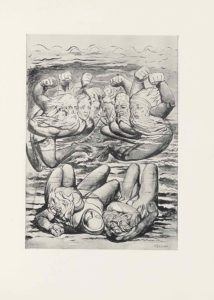 """This half-tone reproduction of a water-colour drawing by William Blake for Dante's Inferno is in portrait orientation. The image shows six figures in a line in the top two-thirds of the picture plane and three figures lying on their backs below in the bottom third. The three figures at the bottom are lying very close together, with their knees bent and the backs of their heads facing the viewer. The figure on the left has their left arm bent up with their hand resting above their head. The face is not visible, with only hair showing at the top of the head. The central figure is lying with their arms covered underneath the bodies of the two figures on either side. They have a head scarf wrapping tightly around the sides of their face. The figure's eyes are closed. The figure on the right is a man with his head twisted far to the right and his bearded face visible by the viewer. The man's eyes are closed. His left arm is wrapped across his body, with his hand tucked into his armpit. He has long hair that flows in waves around his head. The series of six figures at the top of the composition are floating above the three figures on the bottom. The six floating figures are a mirror image of each other in poses, with each figure's outer arm raised up with a clenched fist. The figure on the far left is a man who has his body facing the left side, but his upper body twisted to face to the right. He has bare feet and bare legs that are translucent, giving way to the background coming through. He has his right arm raised in a fist, and his left arm is reaching across his body. He has a long wavy beard and long hair on his head. Slightly to his right and backgrounded is the second figure. This figure is limitedly visible, showing only a raised right fist and a face with a crease between the eyebrows, and a mouth opened in an """"O"""" shape. To the right of this figure and slightly backgrounded is the third figure. This figure has the right fist raised as well, and only the face vis"""
