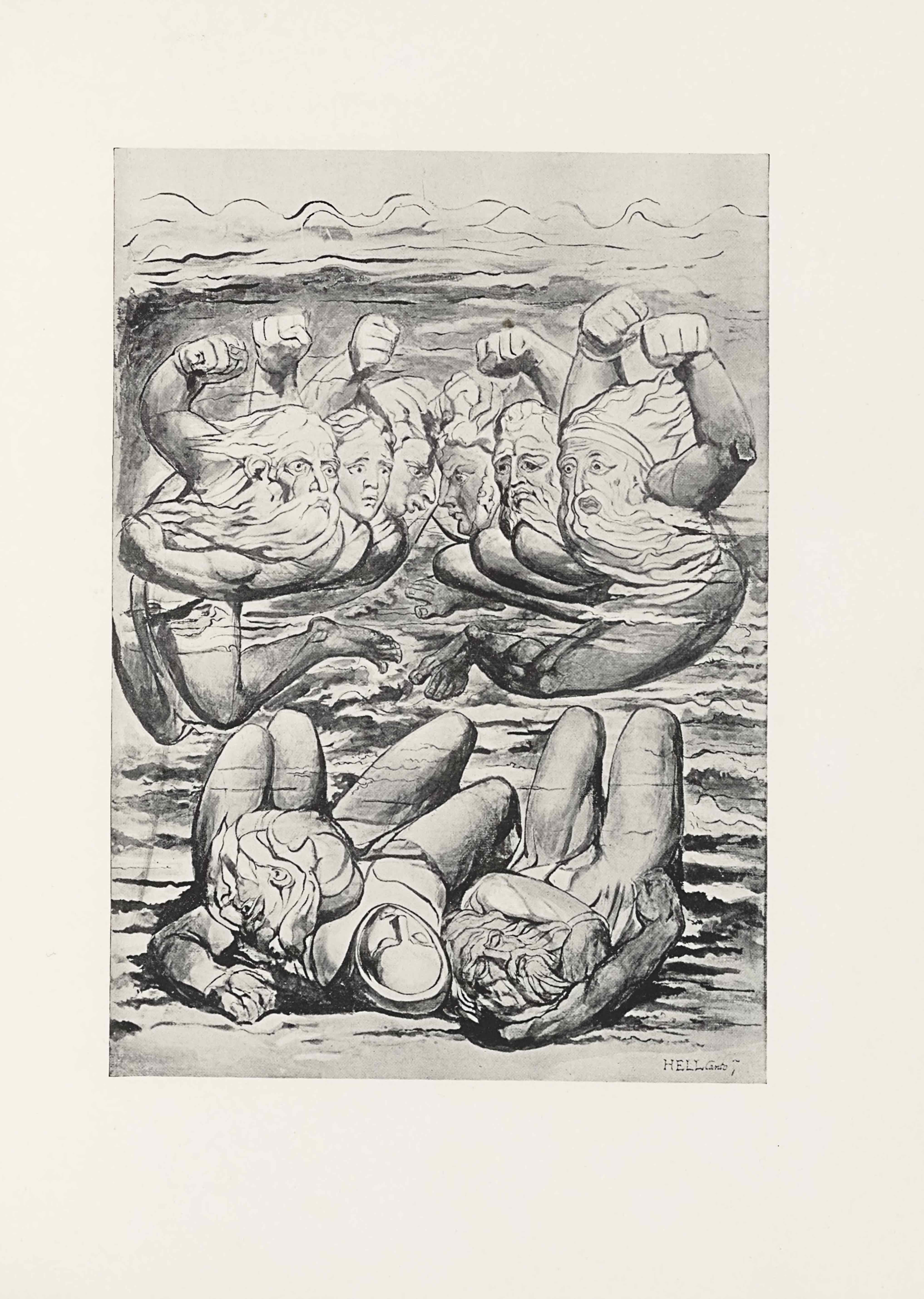 "This half-tone reproduction of a water-colour drawing by William Blake for Dante's Inferno is in portrait orientation. The image shows six figures in a line in the top two-thirds of the picture plane and three figures lying on their backs below in the bottom third. The three figures at the bottom are lying very close together, with their knees bent and the backs of their heads facing the viewer. The figure on the left has their left arm bent up with their hand resting above their head. The face is not visible, with only hair showing at the top of the head. The central figure is lying with their arms covered underneath the bodies of the two figures on either side. They have a head scarf wrapping tightly around the sides of their face. The figure's eyes are closed. The figure on the right is a man with his head twisted far to the right and his bearded face visible by the viewer. The man's eyes are closed. His left arm is wrapped across his body, with his hand tucked into his armpit. He has long hair that flows in waves around his head. The series of six figures at the top of the composition are floating above the three figures on the bottom. The six floating figures are a mirror image of each other in poses, with each figure's outer arm raised up with a clenched fist. The figure on the far left is a man who has his body facing the left side, but his upper body twisted to face to the right. He has bare feet and bare legs that are translucent, giving way to the background coming through. He has his right arm raised in a fist, and his left arm is reaching across his body. He has a long wavy beard and long hair on his head. Slightly to his right and backgrounded is the second figure. This figure is limitedly visible, showing only a raised right fist and a face with a crease between the eyebrows, and a mouth opened in an ""O"" shape. To the right of this figure and slightly backgrounded is the third figure. This figure has the right fist raised as well, and only the face visible. This figure is visible only in profile. The figure has large lips that are extended far out from the face. The figure also has a long and protruding nose. To the right of this figure, and equally backgrounded, is a figure also visible only in profile, but turned to face to the left and staring directly at the opposition. This figure has the left fist raised and clenched. The figure has downturned lips and a crease between the eyebrows. To the right and slightly foregrounded is another figure with the left fist raised. This figure has a wavy beard and matching hair, both long. The figure has slightly downturned lips and large pupils. The figure is looking off into the distant left of the page, with a crease between the eyebrows. To the right and foregrounded is the sixth figure. This figure has his whole body visible. The figure has his left fist raised and his legs are sticking out towards the centre of the composition. He has a long wavy beard and hair, which covers up his whole upper body. He has wide eyes and raised eyebrows. His mouth is in an ""O"" shape. In the background of all of the figures on the page is a series of horizontal wavy lines, in wave-like shapes in the bottom half. In the upper half the lines become less wavy and look like air waves in the sky. Between the lines is dark shading until the top fifth of the page where the background becomes much lighter. In the bottom right corner there is the text: ""HELL Canto 7""."