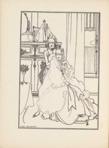 """This line-block reproduction of Beardsley's pen-and-ink drawing is in portrait orientation, facing the poem by Bardsley it illustrates, """"The Ballad of a Barber,"""" on p. 91. The image shows a seated woman or girl (""""The Princess"""") facing the viewer, with a male figure (the barber) standing behind her. They are shown inside a dressing room, with a small religious figurine standing on the fireplace mantel behind them. In the foreground and to the left is the edge of a table. The table has one plain curved leg sticking out from underneath a white tablecloth that falls nearly to the ground. On top of the table is a small three-footed vase containing a bouquet of small roses and leaves. To the right of the table in the foreground is the woman sitting on a chair, turned to face slightly to the right, but with her directly to the viewer. She is wearing a large ruffled dressing gown; one big bow tied at her chest has long ribbons extending down to her knees. Her feet rest on a tasseled pillow on the floor. Her right hand rests on her lap while her left hand is lifted to her chin. Her mouth is slightly opened and her eyes look to the left side of the page. She has mid-length wavy hair with a little hairpiece on the left side of the top of her head. The headpiece is a small clip of swirled material. Behind her and to the left on the page is a standing male figure, the barber. His right foot sticks out to the left of the woman's skirt, wearing a small slipper with a bow at the toe. He is wearing an apron with a pocket containing a pair of scissors. He has a button-up shirt with a black bow-tie underneath the apron, which is tied with a large dark coloured bow. The barber also has a slightly opened mouth and a crease between his brows. His hair is elaborately coiffed with a pompadour and waves at the side. Behind and to the left in the background is a fireplace mantel that is ornamented with swirling lines. On top of the mantle is a half visible oval shaped mirror with a slightly """