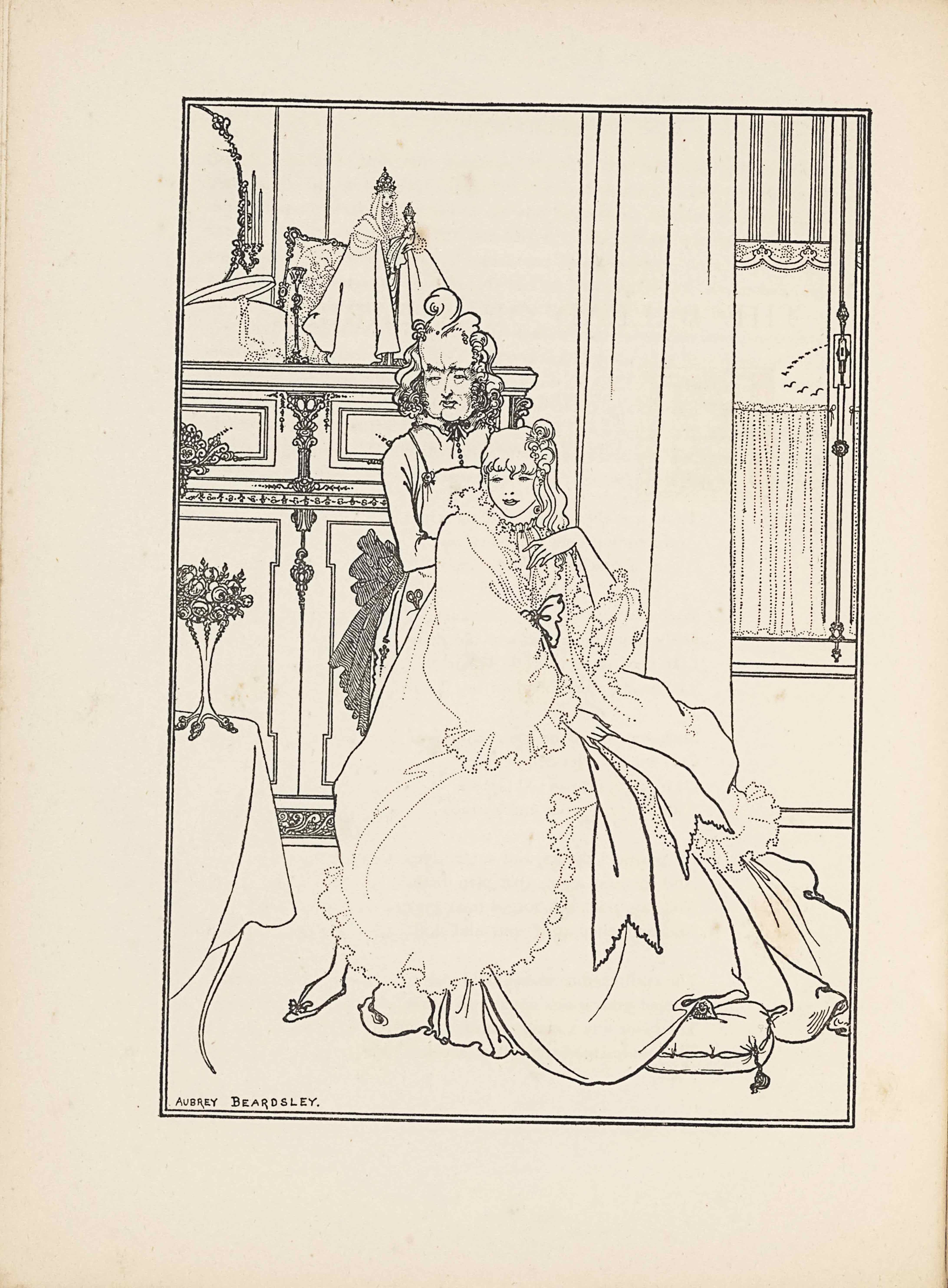 "This line-block reproduction of Beardsley's pen-and-ink drawing is in portrait orientation, facing the poem by Bardsley it illustrates, ""The Ballad of a Barber,"" on p. 91. The image shows a seated woman or girl (""The Princess"") facing the viewer, with a male figure (the barber) standing behind her. They are shown inside a dressing room, with a small religious figurine standing on the fireplace mantel behind them. In the foreground and to the left is the edge of a table. The table has one plain curved leg sticking out from underneath a white tablecloth that falls nearly to the ground. On top of the table is a small three-footed vase containing a bouquet of small roses and leaves. To the right of the table in the foreground is the woman sitting on a chair, turned to face slightly to the right, but with her directly to the viewer. She is wearing a large ruffled dressing gown; one big bow tied at her chest has long ribbons extending down to her knees. Her feet rest on a tasseled pillow on the floor. Her right hand rests on her lap while her left hand is lifted to her chin. Her mouth is slightly opened and her eyes look to the left side of the page. She has mid-length wavy hair with a little hairpiece on the left side of the top of her head. The headpiece is a small clip of swirled material. Behind her and to the left on the page is a standing male figure, the barber. His right foot sticks out to the left of the woman's skirt, wearing a small slipper with a bow at the toe. He is wearing an apron with a pocket containing a pair of scissors. He has a button-up shirt with a black bow-tie underneath the apron, which is tied with a large dark coloured bow. The barber also has a slightly opened mouth and a crease between his brows. His hair is elaborately coiffed with a pompadour and waves at the side. Behind and to the left in the background is a fireplace mantel that is ornamented with swirling lines. On top of the mantle is a half visible oval shaped mirror with a slightly ornamented edge. In front and to the right of the mirror is a hat box that has its lid slightly off-kilter and a string of pearls hanging out off the edge. To the right of the box on the mantle is a candlestick holder. There is a little picture frame balanced on its bottom right corner and leaned against the wall. In front of that frame is a small female figurine standing on the mantle. She is wearing a robe or cape that falls widely around her. She has light and straight short hair and is wearing a crown. She has her left arm extended out in front of her holding a baby [this could be a religious statuette of the Madonna and Child]. The baby's body appears in profile facing to the left side of the page, but the baby's head is turned to face the viewer. The baby has on a long gown and also is wearing a crown. To the right of the mantle is a plain and light coloured curtain hanging down the side of a small window. The window and its surrounding draperies start just above the floor edge and extend past the picture frame. The window has a delineation in the middle of wood framing with an ornamented stick and a small box in the centre. The window has a frilly half-curtain covering the bottom half and an ornamental blind on the top, with a fringed valance. In the small bit of visible window there is a trail of birds flying in a curved line in the distance. In the bottom left corner is the artist's signature:: ""AUBREY BEARDSLEY."" [caps]. The image is framed by a double-lined edge."