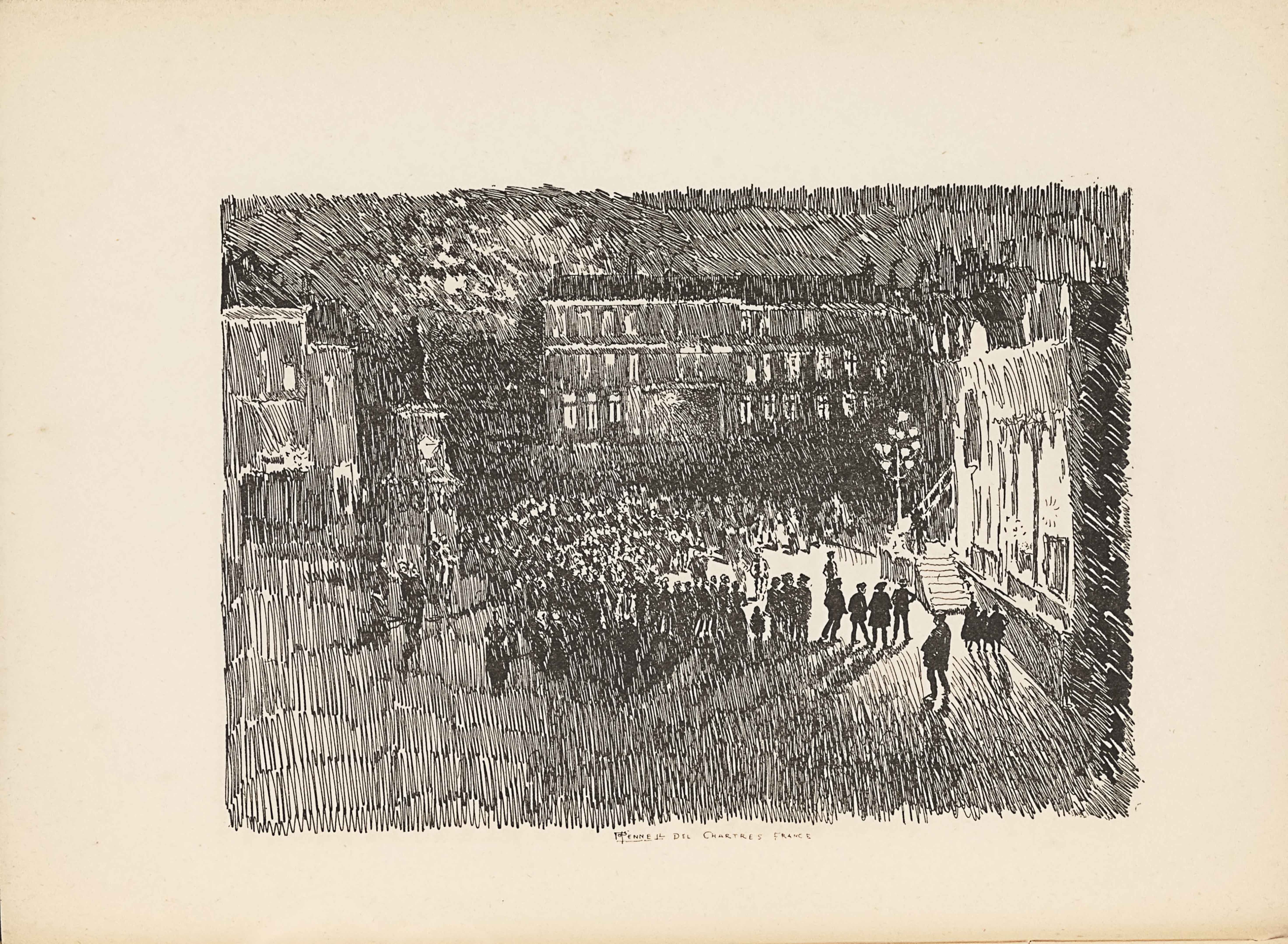 "The line-block reproduction of a pen-and-ink drawing by Joseph Pennell is in landscape orientation. The image shows a city square with a gathering of people facing a person standing up on a staircase. There is a darkness to the image because of the drawing style, which is comprised of a series of vertical and diagonal lines drawn in a hatching formation. On the left side of the image is a series of vaguely outlined buildings, which reach up to three-quarters the height of the page. Slightly to the right of the buildings is a clock tower with a tall pointed roof. To the right of the clock tower is a group of people standing, visible by their light and circular heads between dark vertical lines. The group is formed in a semi-circle and turned to face towards the right side of the image. In the background of the group is a row of buildings in a horizontal line across the top third of the page. The buildings have three floors with a window appearing at each floor height and consistently all the way across horizontally. The buildings are all conjoined and have a shared black roof. The semi-circle formation of people on the ground are lit by a tall street lamp with about six lights. The light is beside the steps that lead to the front of a building that takes up the height of the right side of the page. A person standing on the steps appears as a dark figure underneath the lamp. There is a small group of people standing in front of the steps on the foreground side away from the rest of the large group. The building on the right side of the page is the only light coloured building in the area. The dark foreground is, made entirely of hatched and vertical lines. The background behind the buildings is made of a series of hatched vertical lines as well, but these are closer together and darker. There is no borderline around the outside edge of the image. The image edges are instead made of vertical lines ending roughly in a straight line. Centered underneath the image is the text: ""JPENNELL DEL CHARTRES FRANCE"" [caps]."
