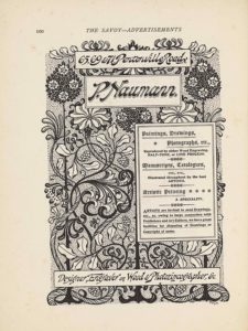 "The image is in portrait orientation. The image is an advertisement for Paul Naumann's services and shows four boxes of textual publishing information with a floral design behind the boxes. At the bottom edge of the page are the roots of the flowers that extend up to the top edge. There are three roots based at the bottom edge. The roots are evenly spaced out across the width of the page. The roots appear as curled horizontal lines cut through in the middle with straight vertical lines. The roots and flower stalks are all dark coloured. Around the roots at the bottom edge is a looping piece of vine that looks like rope. The vines then extend up vertically and wrap around the two exterior flowers all the way up the page. There is a bunch of berries in the middle two spaces between the flower stalks. Slightly up the page from the bottom edge is a long rectangular text box. In the single-edge box is the text: ""Designer, Engraver on Wood & Photozincographer, &c."" The text is italicized and black on a white background. Above the box in the background is the flower stalks and vines, with two branches of leaves extending out horizontally. Slightly above and only on the right half of the page is another text box. This box is tall and rectangular, with a double-edged border. The box contains the text: ""Paintings, Drawings, // Photographs, etc., // Reproduced by either Wood Engraving, // HALF-TONE, [caps] or LINE PROCESS. [caps] // Manuscripts, Catalogues, // ETC., ETC., // Illustrated throughout by the best // ARTISTS. [caps] // Artistic Printing // A SPECIALTY. [caps] // ARTISTS [caps] are invited to send Drawings, // etc., as, owing to large connection with // Publishers and Art Editors, we have great // facilities for disposing of Drawings or // Copyright of same."" Just above this text box is where the flowers bloom out from their stalks. The three flowers from the dark roots are dark ovals of leaves with four white daffodil flowers evenly populated. The two flowers from the vines are light and the petals are patterned dark and light in repetitive order. The centre dark flower and two vine flowers are in line just below the next text box, and the two outer edge dark flowers rise up higher on either side of the text box. The text box says: ""P. Naumann."". This is written in the largest and boldest text on the page, with a double-edged border around it. There is one more text box above it and this one says: ""65, 69 & 71. Pentonville Road N."". The box is bordered with a single line. Two more leaf branches extend out horizontally in the background of these two highest text boxes. Behind all the flowers and vines is a stippled background. There is no border around the image."