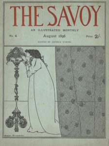"""This cover design, in portrait orientation, combines letterpress with line-block reproduction of a pen-and-ink illustration by Bardsley. The entire image is bordered with a double-lined edge, with the top third separated from the imagery below with a similar border. The top third of the page is comprised of a text box with publishing information.The title text: """"THE SAVOY"""" [caps] is centered in large display type. In the line below is the centered text: """"AN ILLUSTRATED MONTHLY"""" [caps]. The line below has three groups of text aligned left, centre, and right, respectively: """"No. 4 // August 1896 // Price 2/-"""". The last line of text is just below and reads: """"EDITED BY ARTHUR SYMONS"""" [caps]. The bottom two-thirds of the cover design contains the illustration. This image is divided into two parts straight down the middle by the appearance of a curtain suspended from the textbox of publishing information. On the left side is a tall ornamented pedestal table with three legs holding a large pyramind of grapes with three leaves. To the right of the pedestal is a woman standing in profile facing left, leaning, forward to smell the grapes. Her hands reach out to touch the grapes in front of her. She is wearing a loose, full-length dressing-gown with long sleeves, capped with a bow. The neckline appears to have a ruffle all the way around. Her hair is dark and wavy, and pulled together in a loose tie at the nape of her neck with a large bow. To her right is a dark gauzy curtain patterned with cross-hatching and intermittent polka dots. In the background of the pedestal, woman, and curtain there is a single line running across the bottom third of the page as a delineation between the floor and the wall, suggestive of a stage setting. Both the floor and wall are uncoloured. In the bottom left corner appears the artist's name: """"AUBREY BEARDSLEY."""" [caps]."""