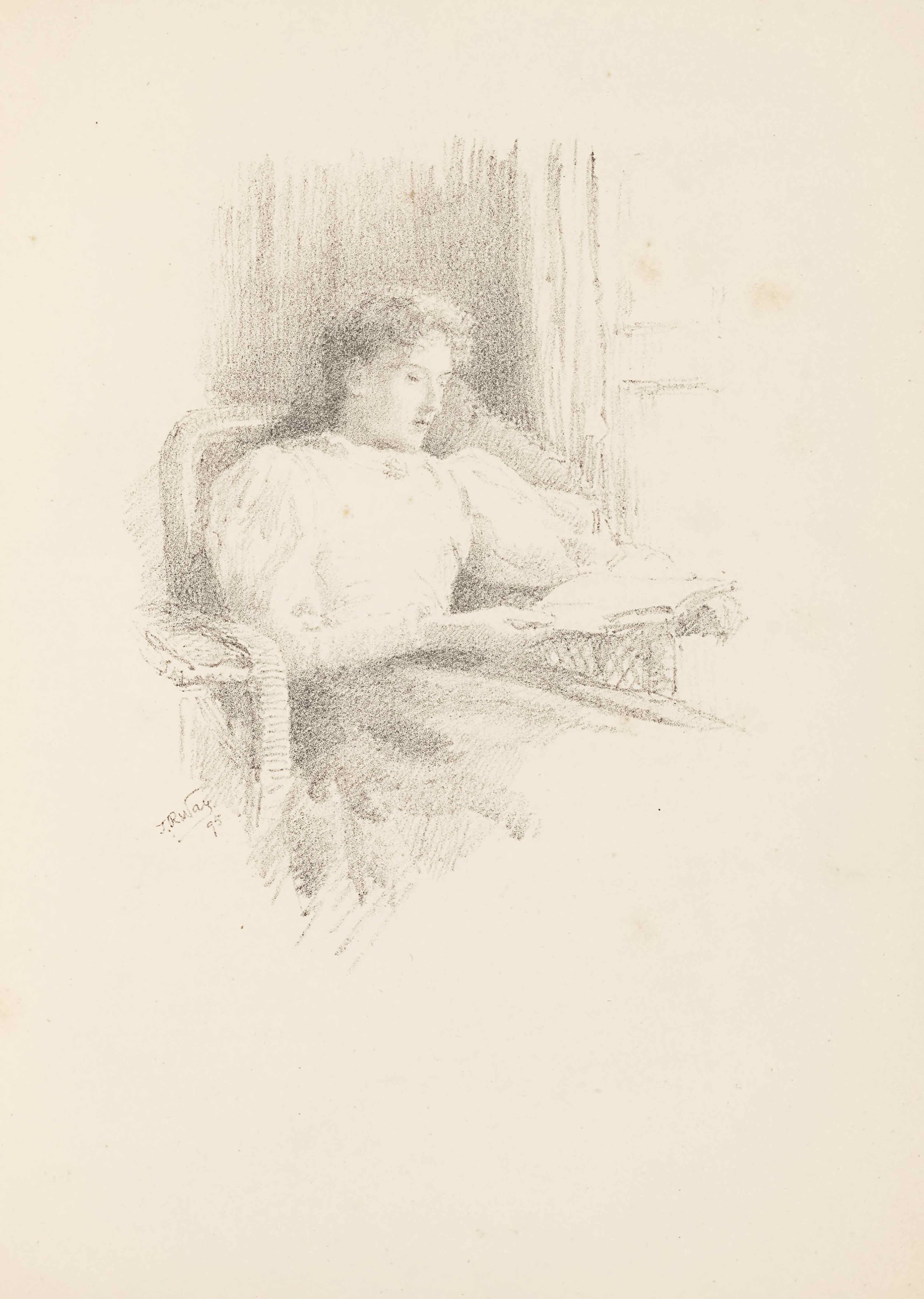 """The unbordered lithograph by T R Way is in portrait orientation. The image shows the torso of a woman sitting in a wicker chair reading a book. The image is sketched lightly and the woman's legs and surrounding area are not visible. The woman is turned to face slightly to the right, where there is the suggestion of a window. The woman's body is leaned back into the chair. She is wearing a dark skirt and a plain white shirt with long and puffy sleeves that tighten around the forearm. The shirt has a high neckline. Her face is tilted down to look at the book which rests upon the left chair arm. Her right arm reaches across her body to support the book and her left arm is extended out below the book holding that side of it up. Her hair is wavy and tied back at the nape of her neck. Her eyes are hardly visible because her eyelids are mostly closed. Behind where she sits in the chair is a section of black shading to indicate a wall in the room. There are light outlines of a paned window in the background and top right of the page. The artist's signature appears just to the left of the chair seat: """"T. R. Way."""" and in the below is the date: """"95."""""""