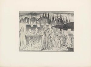 "This halftone reproduction of a water-colour drawing by Blake for Dante's Inferno is in landscape orientation. The image shows a scene of a burning mausoleum with four figures in the foreground in the circle of Hell reserved for heretics. Dante stands on the far left of the foreground facing the viewer, but with his head turned to face to the figures emerging from the flames. He is wearing a plain long and loose robe. To his right is a slab tilted up to reveal an opening in the surface that he is standing on. The opening has flames rising out. Just behind the slab is a series of three more flames. To the right of the opening is another standing, robed figure, possibly Farinata rising out of the tomb. His body is facing the viewer, but turned slightly to the right. His left hand is open and raised out in front with his elbow bent at a ninety degree angle. He has his right arm tucked just behind his back. his head is tilted down to look at the man below to the right, who is emerging out of a second fiery pit. Only his upper body is visible. He is turned towards the left and iis wearing a partially visible armoured shirt, with flames licking the front. He has on a helmet too. His left hand in resting on the ground and his right hand is raised towards the man standing to his direct left, with the middle and pointer fingers extended separate from each other and the rest of the fingers. He has a long white beard and tufts of white hair on his head protrude out from the front of his helmet. To the right of this man is another man who is deeper in the same pit, only showing his shoulders and head. He is facing the viewer, but his head is turned towards the figures to his left. His hands are gripped onto the edge of the surface. He has a white beard and white hair. His eyes are wide and his mouth is downturned. Behind these four figures is a castle wall with rectangular merlon and embrasure rise and falls along the top edge. The wall is parallel to the bottom edge of the image from the left side until about the centre and then starts to recede back angled up to the right. Behind the castle wall on the right side of the background is a dark hill. In the very background, essentially the top quarter of the page, is a skyline of a town. There are about six building roofs along the horizon that are visible. In front of the building roofs is a line of flames. Behind that part of the scene is a cloud, dark sky. In the bottom right corner there is the text: ""HELL [caps] Canto 10"". The image is surrounded by a single black line border."