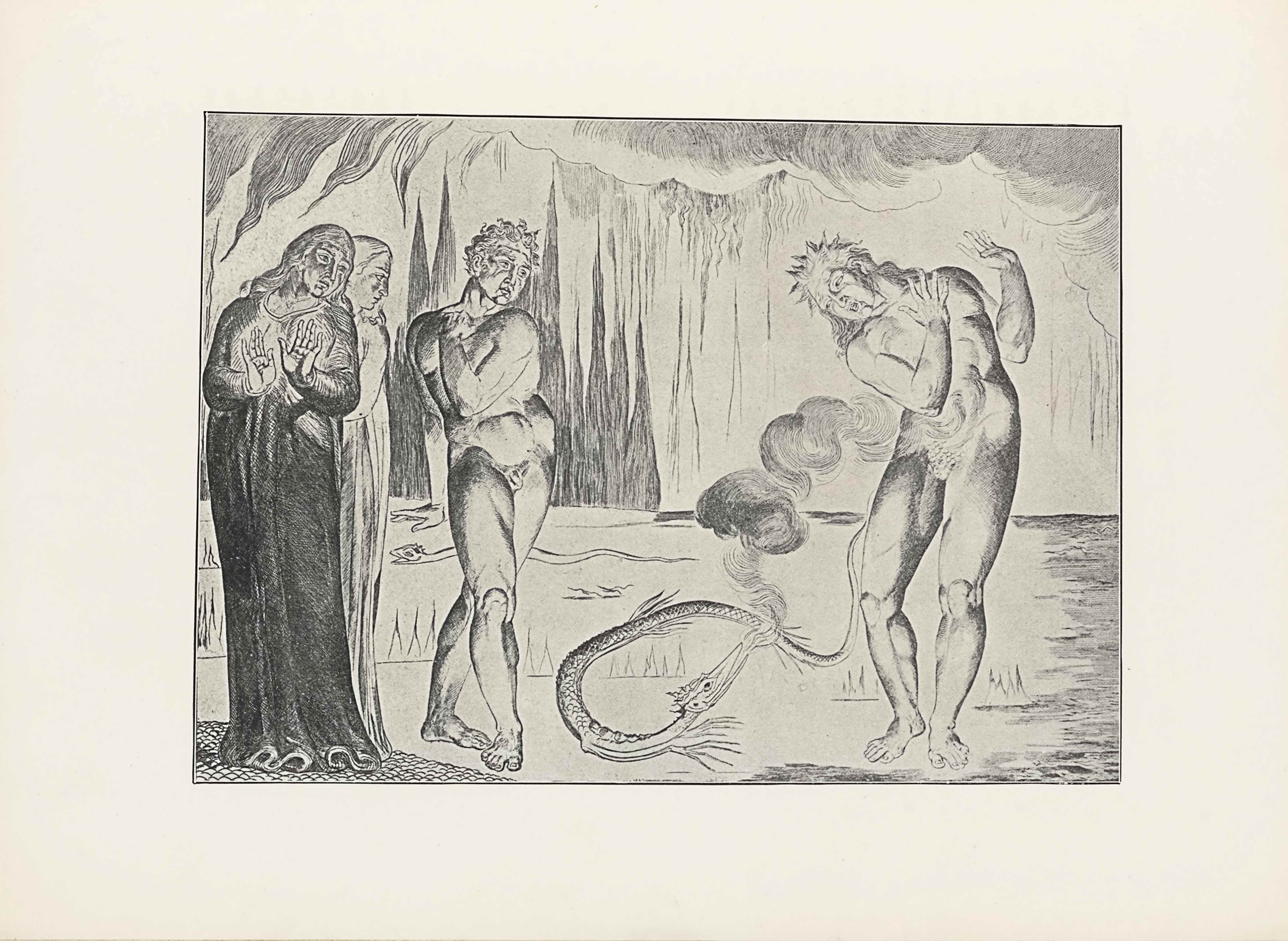 "This halftone reproduction of Blake's engraving for Dante's Inferno is in landscape orientation. The image shows four figures in hell; three on the left watch a fourth on the right being attacked by a serpent. On the far left are two robed figures, likely Dante and Virgil. The first figure on the left is standing in the foreground and rises to three-quarters up the page in height. The figure, likely Dante, is wearing a long and dark robe. His body is facing the viewer with his head turned towards the right, giving a three-quarters profile. His hands are raised up at a ninety degree angle with his palms facing the viewer. His eyes look towards the snake attacking the naked figure to his right. There is a second robed man standing behind and to the right of the first. He is visible in profile, with his face looking to the right toward the serpent attacking the naked man (Buoso Donati). To the right of the two robed figures are two naked men. The first stands close to the robed pair, with his body facing the viewer, but his head is turned to look down at the snake on the ground. His right leg is crossed in front of his left leg and his toes are pointed in to face each other. He has short curly hair. His left arm is pulled across his body, with his left hand resting on his right shoulder. His right arm is pulled behind his back. To the right of him on the ground is the serpent. It is scaled and its body is twisted in a loop, with the head and tail on the right. The serpent has its head lifted to look up at a naked figure standing to its right. The snake's head is long and the mouth is open with smoke rising out of it in puffs up and to the right. The naked figure to the right of the snake is standing with the body facing the viewer. The male figure is in a defensive posture, with the right leg lifted slightly, pulled away from the serpent. The figure's arms are lifted in front in a ninety degree angle. The figure's upper body is leaned down towards the serpent, with the face turned to look down at it, his mouth is opened in an ""o"" shape. The figure has spiked hair on the top of the head with longer pieces falling down the back. The ground on which all of the figures and snake rest is flat and plain, with a small design of rocky ground under the feet of the robed men. In the mid-ground is more flat land with intermittent pieces of jagged rock. There is also another snake or serpent in the mid-ground to the left of the one in the foreground. This snake is facing to the left and stretched out in a long horizontal line. At the halfway point up the height of the page is the start of the skyline. The background is made of clouds along the top edge of the page, with jagged lines rising up in the left background. Waved vertical lines are appear intermittently in the distant background."