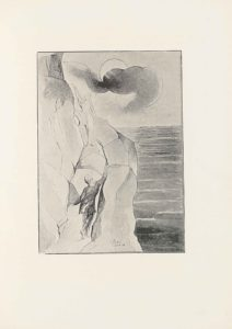 """This halftone reproduction of Blake's water-colour drawing for Dante's Purgatory is in portrait orientation. The image shows a rocky mountain on the left with sea and a sky on the right. The mountain is being climbed two male figures, Dante and Virgil. One figure higher up beckons towards another figure who is ascending. The mountain is comprised of many large rocks. The climbing figure has his back to the viewer and is wearing dark pants and a loose, dark long-sleeve shirt. The figure's right arm is extended up and to the right, reaching to the top of a chunk of rock. His right foot is drawn back, and his left hand is resting down on a rock to the left. This figure has light hair that falls to just below the shoulders. At three-quarters of the height of the page is the other figure. This figure is facing the viewer, and standing on one rock with just their left foot. The figure's right leg is bent up and the right foot is resting on a higher rock. The figure's left arm is down by his side. The figure's right arm is lifted straight up and to the right of his head. The figure is wearing a transparent robe that flows around the body. HIs head is tilted down slightly to look at the water below to the right on the page. There is more rock rising above and to the left behind him. In the background is the sky, with one large circle representing the sun or moon in the centre of the sky and a trail of dark mist is in front and across it. To the right of the mountain and from the mid-height of the page down is wavy and dark water of the sea. The top half of the page behind the sun is open sky. In the centre of the foreground on top of the bottom of the rocky mountain is text that reads:: """"Purgatory // Canto 4""""."""