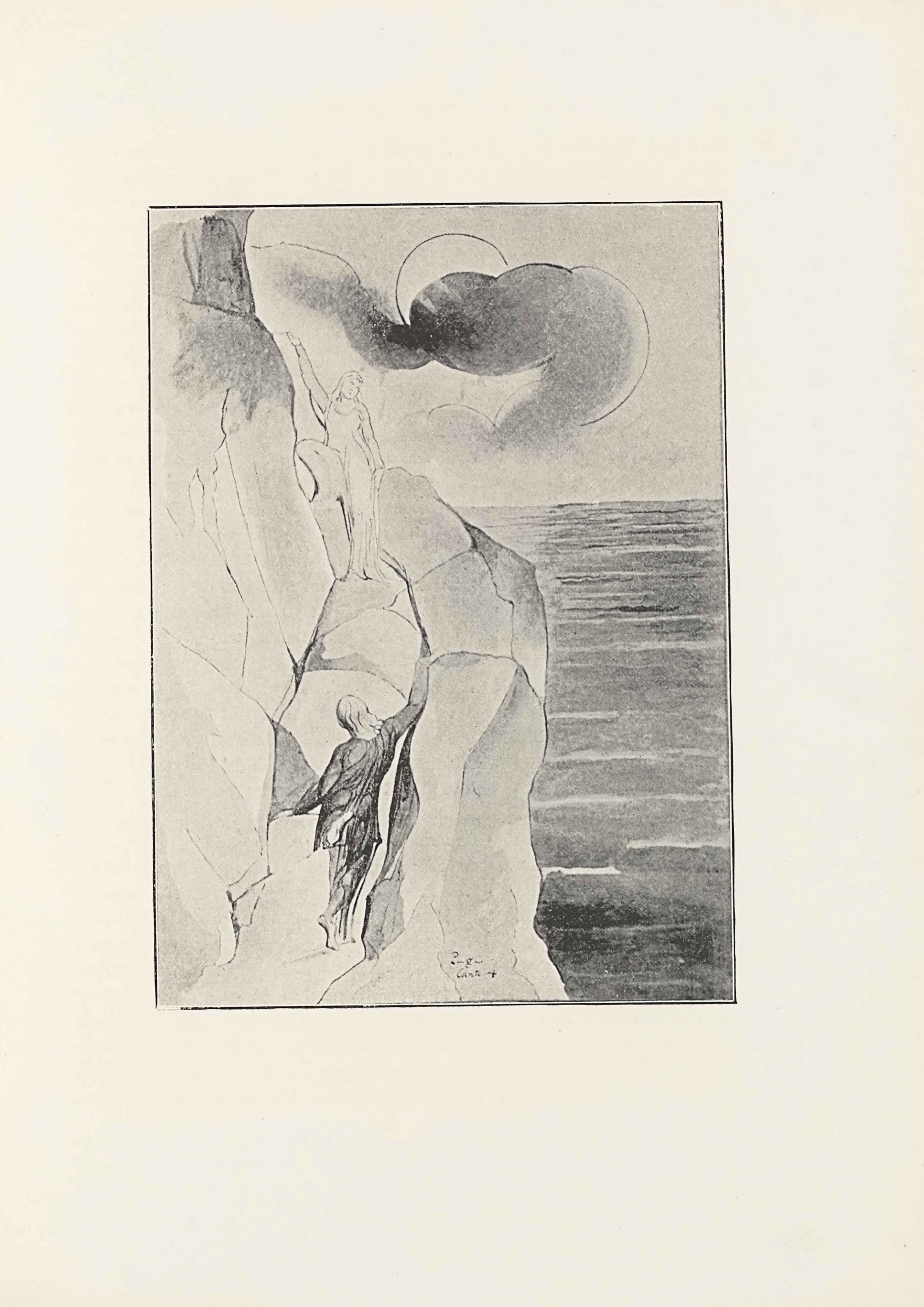 "This halftone reproduction of Blake's water-colour drawing for Dante's                  Purgatory is in portrait orientation. The image shows a rocky mountain on the left                  with sea and a sky on the right. The mountain is being climbed two male figures,                  Dante and Virgil. One figure higher up beckons towards another figure who is                  ascending. The mountain is comprised of many large rocks. The climbing figure has                  his back to the viewer and is wearing dark pants and a loose, dark long-sleeve                  shirt. The figure's right arm is extended up and to the right, reaching to the top                  of a chunk of rock. His right foot is drawn back, and his left hand is resting                  down on a rock to the left. This figure has light hair that falls to just below                  the shoulders. At three-quarters of the height of the page is the other figure.                  This figure is facing the viewer, and standing on one rock with just their left                  foot. The figure's right leg is bent up and the right foot is resting on a higher                  rock. The figure's left arm is down by his side. The figure's right arm is lifted                  straight up and to the right of his head. The figure is wearing a transparent robe                  that flows around the body. HIs head is tilted down slightly to look at the water                  below to the right on the page. There is more rock rising above and to the left                  behind him. In the background is the sky, with one large circle representing the                  sun or moon in the centre of the sky and a trail of dark mist is in front and                  across it. To the right of the mountain and from the mid-height of the page down                  is wavy and dark water of the sea. The top half of the page behind the sun is open                  sky. In the centre of the foreground on top of the bottom of the rocky mountain is                  text that reads:: ""Purgatory // Canto 4""."