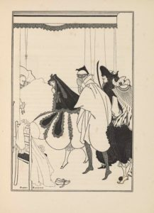 """The halftone reproduction of a pen-and-ink drawing by Beardsley is in portrait orientation, surrounded by a double-lined rectangular border. The illustration depicts a bedroom with the dead Pierrot (a sad clown) in bed in the background, and other stock figures from the commedia dell'arte in the foreground: Columbine (a perky maid servant), Arlecchino (Harlequin), Pantalone (a greedy old man), and Il Dottoro (a know-it-all doctor). In the bottom left corner is the artist's signature: """"Aubrey Beardsley,"""" with the first and last name separated by the back right leg of a wooden chair. The chair sits in the left side of the foreground, facing towards the centre of the scene, with only the back two legs visible, as the seat is heaped with items of clothing. The back of the chair has four horizontal rails connecting the back legs; the bottom one supports the black chair seat. Pierrot's frock hangs over the back of the chair, flowing over the seat and on to the ground. The frock is sketched with small dotted lines that depict edges and folds in the fabric. The frock has ruffles visible at its collar and around the sleeve cuffs, all made via the same technique of dots. Hanging off the top of the right chair back is a pierrot cap made of the same dot pattern. On the floor beside the frock is a pair of slippers with laces tied in bows. The midsection of the image is taken up by five figures. The deceased Pierrot in the background lays covered in a blanket made of the same dot pattern. He is wearing a frock with ruffles at the collar and sleeves; his right arm rests atop the blanket. Pierrot's head rests against a headboard, although only the right half of the headboard is visible as the fold of a curtain blocks off the left side. There are more bed curtains in the background created by dotted lines, hanging from the lacey valance of the canopy. A woman (Columbine) stands over Pierrot's body, leaning forward over his deathbed but with her face is turned to the left to face the"""