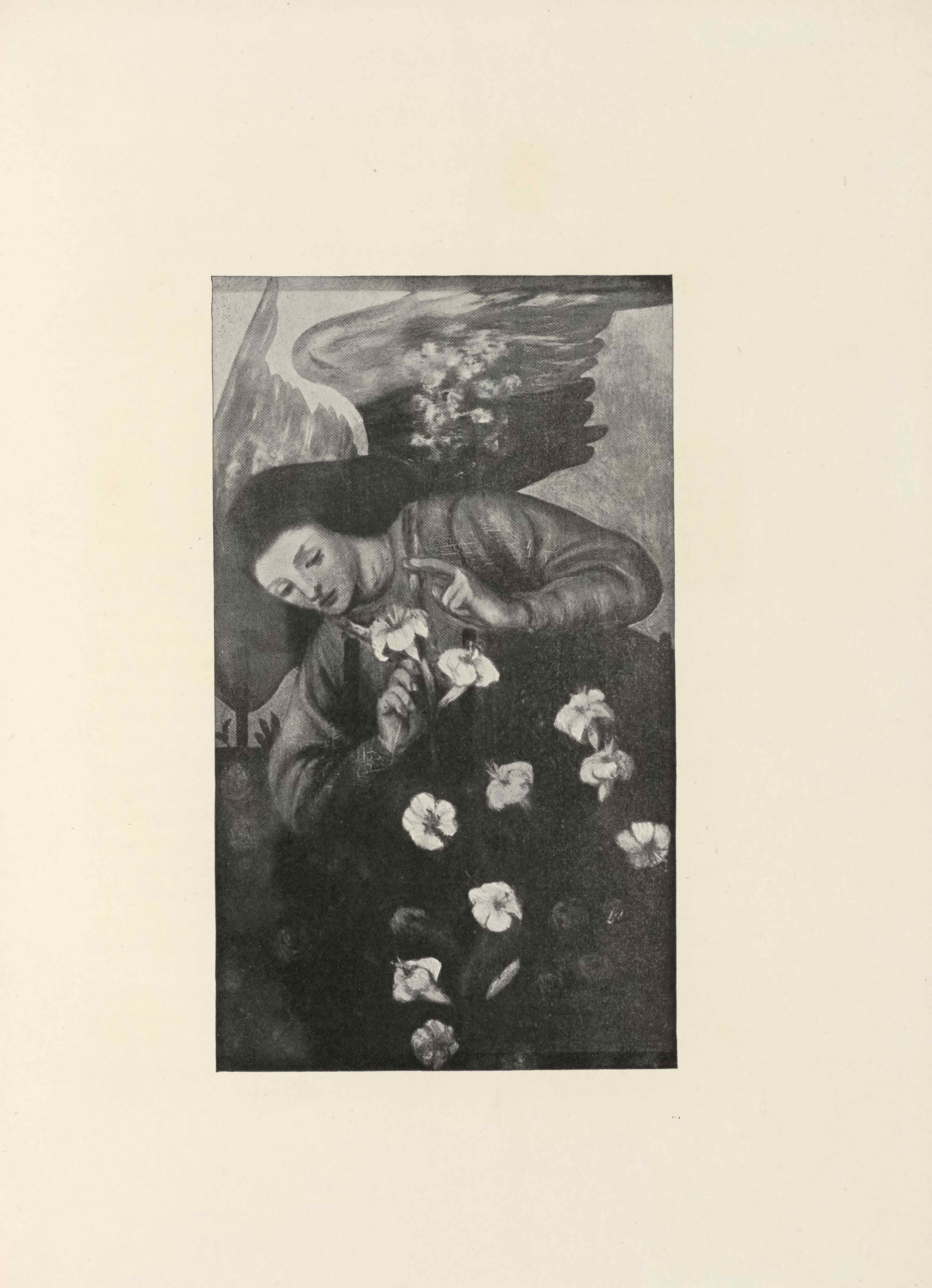 """The halftone reproduction of a pulpit panel painting by D. G. Rossetti is in portrait orientation, facing the essay it illustrates on """"The Stained Glass Windows and Decorative Paintings of the Church of St-Martins-on-the-Hill, Scarborough."""" A winged figure or angel is looking down. The figure is depicted holding a white lily in their right hand and pointing the index finger of their left; the wings take up the top left corner of the page. The tops of the wings are painted lighter than the bottoms, grey instead of black. The angel has black hair extending past the shoulders and out of sight. The angel wears a long-sleeved dress or robe, the top half of which is clearly defined in grey. The bottom half of is black. Eight lilies are spread out on the bottom of the dress, contrasting the black clothing. The sky in the background is a light grey. Far in the background at the left edge of the picture behind the angel's shoulder there is a wall with a curved top that extends up and out of sight behind the the angel. There is a narrow gap in the wall. This image is one of a pair of complementary painted panels depicting the scene of Mary's Annunciation."""