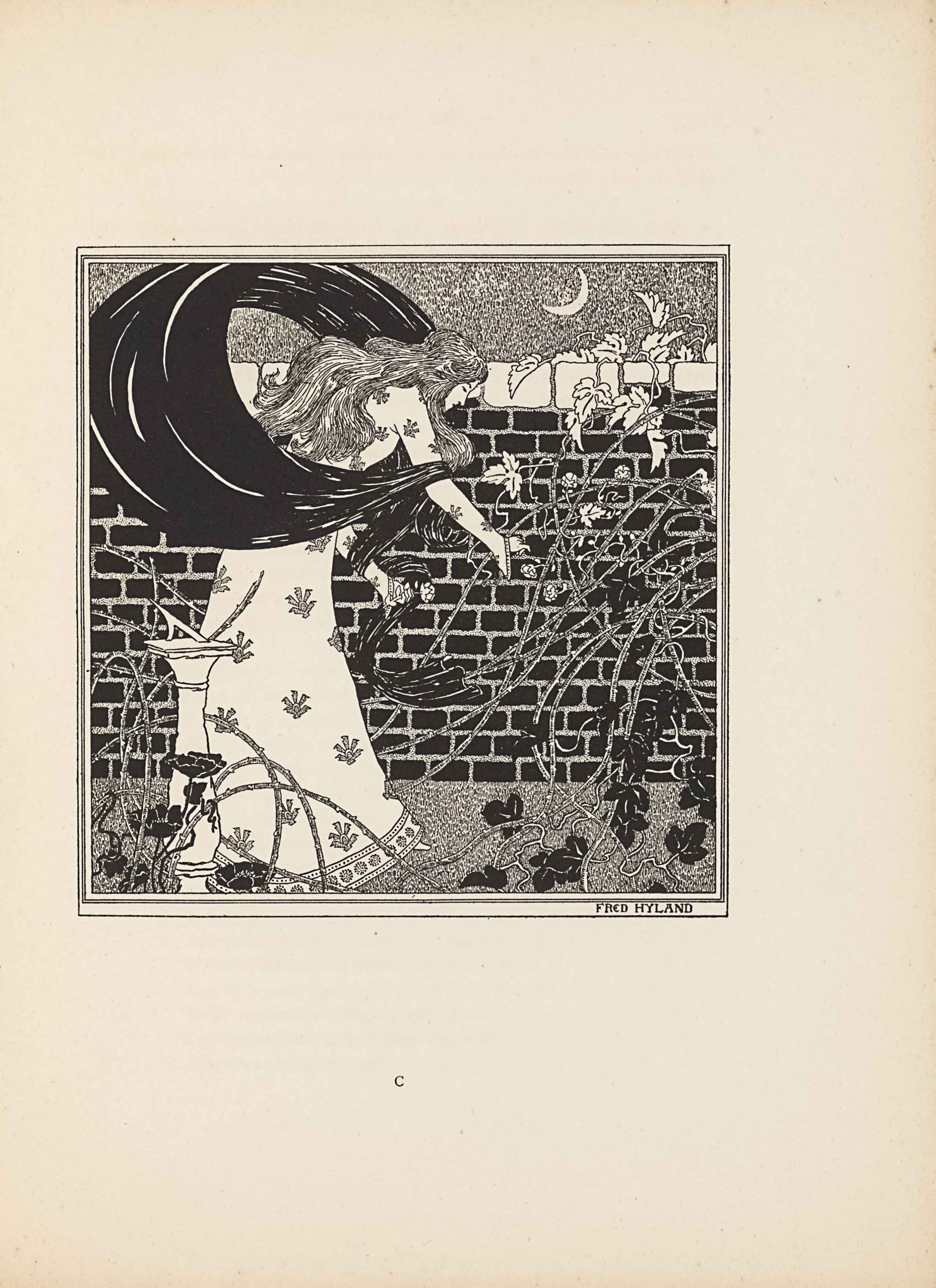 """The line-block reproduction after a pen and ink sketch is contained within a rectangular lined border and is in portrait orientation. The image shows a woman inside a walled garden at night. The top fifth of the image shows the stippled grey sky, with a waxing crescent moon in the upper right. The black brick wall takes up the middle three-fifths of the image; the top bricks are white irregular blocks. In front wall, there is grey grass stippled in the same way as the night sky. Vines and brambles coil from the bottom of the image up the wall and over the top. The vines on the ground and at the bottom of the wall are black while the ones at the top of the wall are white. On the left side of the image stands a white column at about waist height with a sundial on top. The woman stands in between a sundial and a brick wall, facing right in profile and bending over to grasp the fines and brambles in front of her. She has a white flower in her left hand and is picking a flower with her right hand. She is bowed over so that her head is at the same level as the top of the wall. She has long wavy hair that reaches down past her shoulders. She is wearing a white dress with long sleeves. Her dress is patterned with an evenly spaced floral design consisting of five petals diverging from a central point. At the bottom right within the outer edge of the border reads the artist's name: """"FRED HYLAND"""" [caps]."""