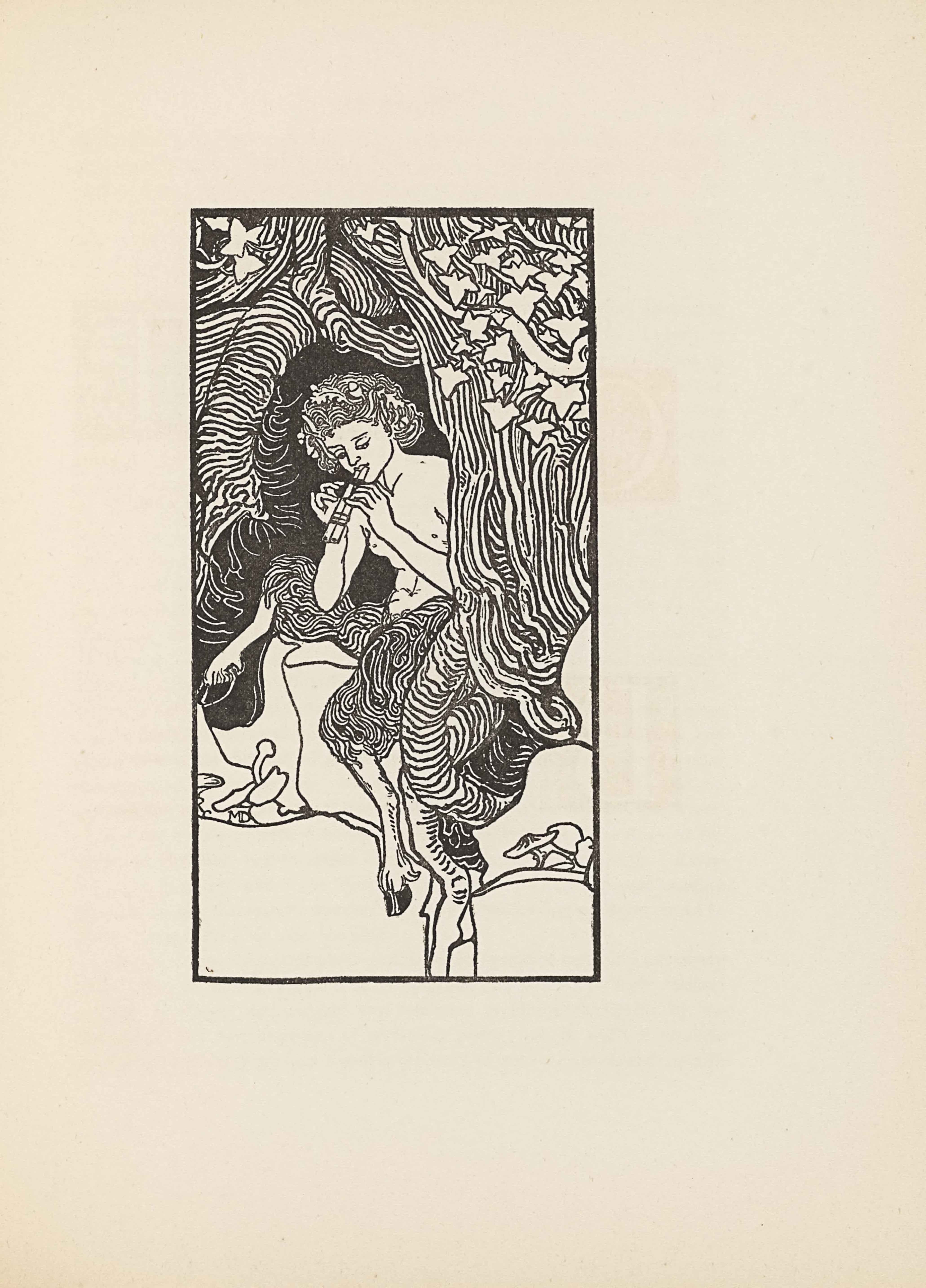 "The line-block reproduction of Mabel Dearmer's pen-and-ink drawing is bordered by a rectangular box in portrait orientation. The illustration is of a satyr or faun sitting on a stump in the hollow of a tree. He has a wreath of leaves in his hair and is playing panpipes. The tree has roots that spiral around the satyr and descend into the ground by his left hoof. There are mushrooms on both sides of the the trunk, sprouting from the ground. The artist's initials are tucked under a mushroom on the left side of the page, they read: ""MD"" [caps]. In the bottom third of the image is open space. The surrounding tree is composed of distinct lines that often run parallel to one another. In the top third of the illustration, the wood is covered in white ivy leaves."
