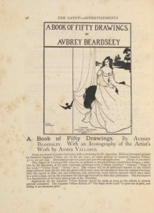 "The framed illustration, in portrait orientation, uses a line-block reproduction of Beardsley's pen-and-ink design. The illustration is an advertisement for a book of 50 drawings by Aubrey Beardsley. The image is divided into three sections. The first section is a banner across the top of three lines of text. The first line reads, ""A BOOK OF FIFTY DRAWINGS"" [caps]. The next line reads, ""BY"" [caps] in a smaller font. The third and final line is in the same size font as the first line and reads, ""Aubrey Beardsley"" [caps]. The second section of the image is demarcated vertically. It takes up the left third of the page. It is blank save for the black silhouette of a bird (possibly a swallow) in descending flight. The edge of the bird's wing crosses over into the third and final section of the image which takes up the rightmost two thirds of the illustration. This section features a dark haired woman in a white dress sitting on a black chair. Her body is facing the right side of the page but her head is turned to the left. White curtains fall behind her to the left. Behind her on the right is a landscape with a river, the far bank of which is black with the silhouettes of three trees visible."