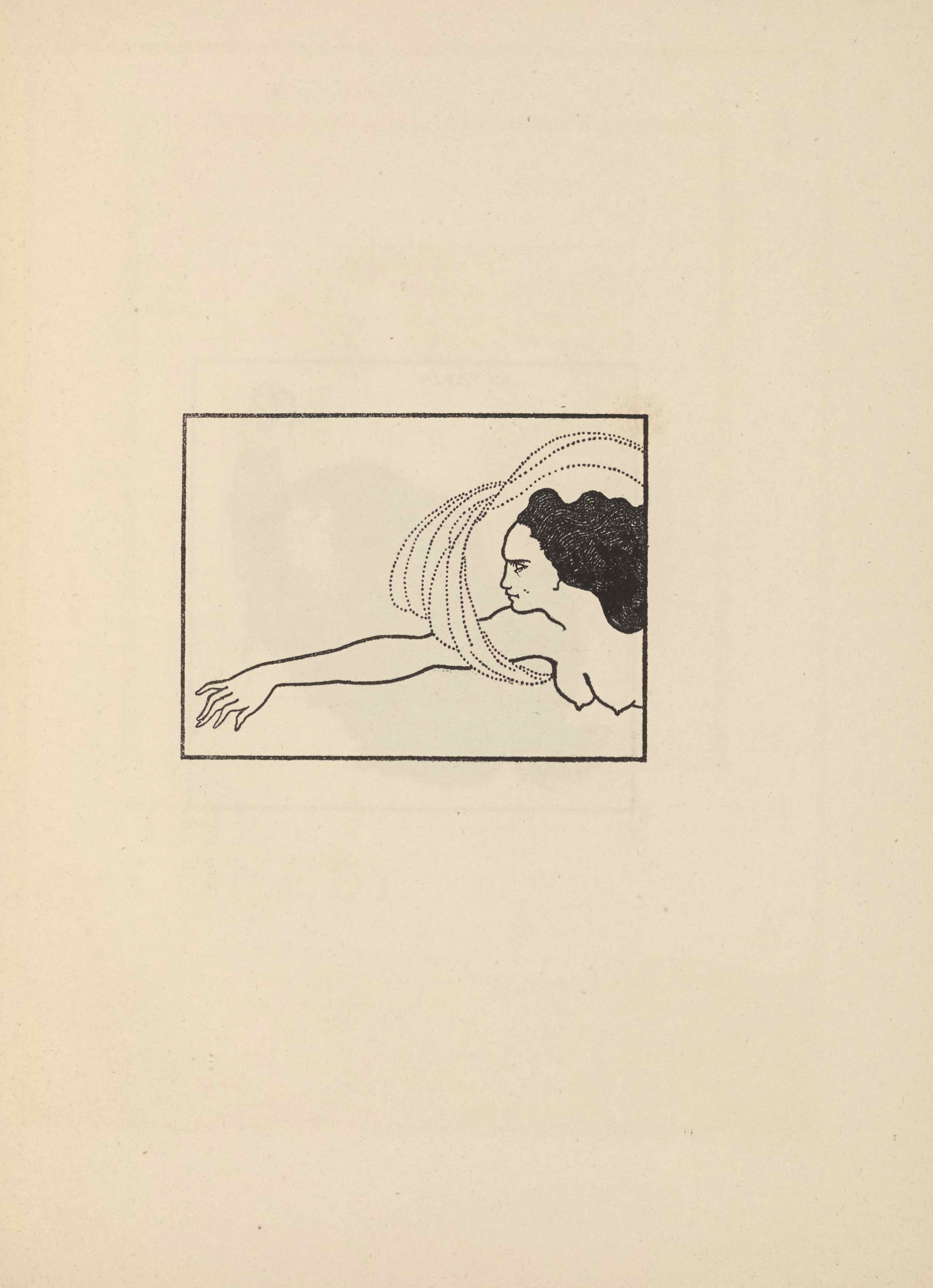 The line-block reproduction of Beardsley's pen-and-ink drawing is in portrait orientation and appears as a rectangular framed image on about a third of the page space. The illustration is of the head and torso of a woman in profile with black hair. She appears to be floating into frame from the right side. Her right arm is extended, and her hand almost touches the left border of the illustration. She is nude save for loops of cloth that wrap under her upper arm and extend back behind her head and out of frame.