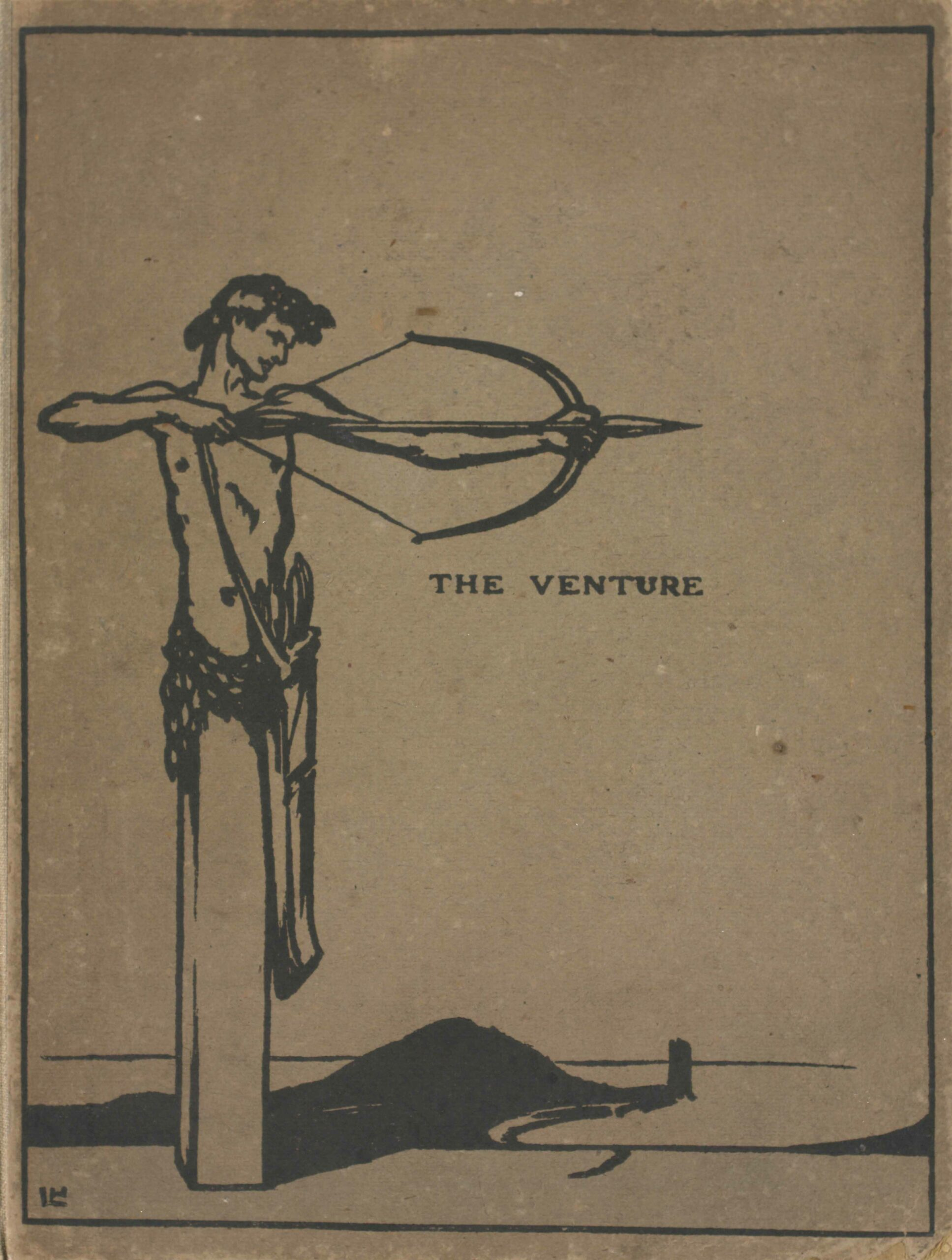 """The image is in portrait orientation and positioned on the left to fit the length of the cover. The image is printed in black on brown boards. Atop a rectangular column, the upper body of a man with short, dark hair is positioned upright and facing forward (such a column is called a herm). The man's head is turned to the right and slightly downwards. He is drawing an arrow; he is using his left arm to balance the bow and his right hand to pull the arrow back. The man is wearing a small knotted fabric on his waistline and a strap across his chest is attached to a bag or quiver with arrows. In the background there is a dark coastline receding towards the left side of the image, a dock at its end, and the outline of a large hill. The man's shadow is on the right ground beneath him. """"The Venture"""" is transcribed in small capital letters at the center of the image, just below the figure's bow."""