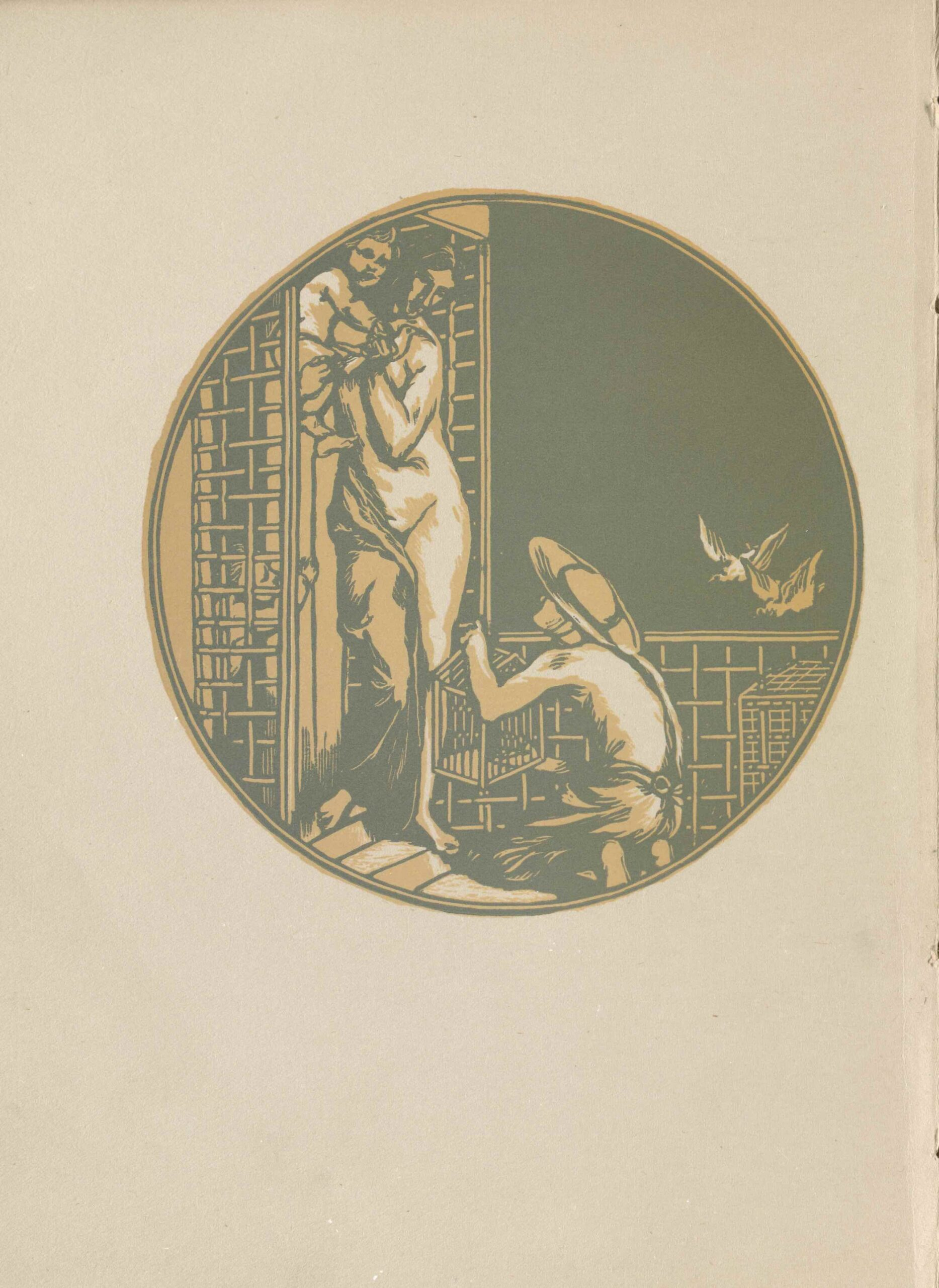 The image is circular and is centered in the upper region of the page. It is printed in dull yellow-gold and olive green ink. The image background is green, and the foreground matter is yellow and white. In the right foreground, a man kneels on the steps of an arbored terrace which surrounds a doorway. He is wearing a wide-brimmed hat with a strap around his chin and a loose garment over the lower half of his body. The man on the steps is facing the terrace so that only his left-side profile is visible. He is holding a small birdcage in front of him and his head is slightly tilted upwards. On the steps of the terrace, a tall adult woman in the doorway stands draped in fabric. The right side of her body is exposed by the fabric falling off of her. She is holding a small child in her arms and is looking down towards the man holding the birdcage with outstretched arms. In the bottom left region of the image, another small child's upper body emerges from the door leading to the terrace. The child's arm is reaching towards the woman. Two doves are in flight above the right side of the fence in the background behind the kneeling man.