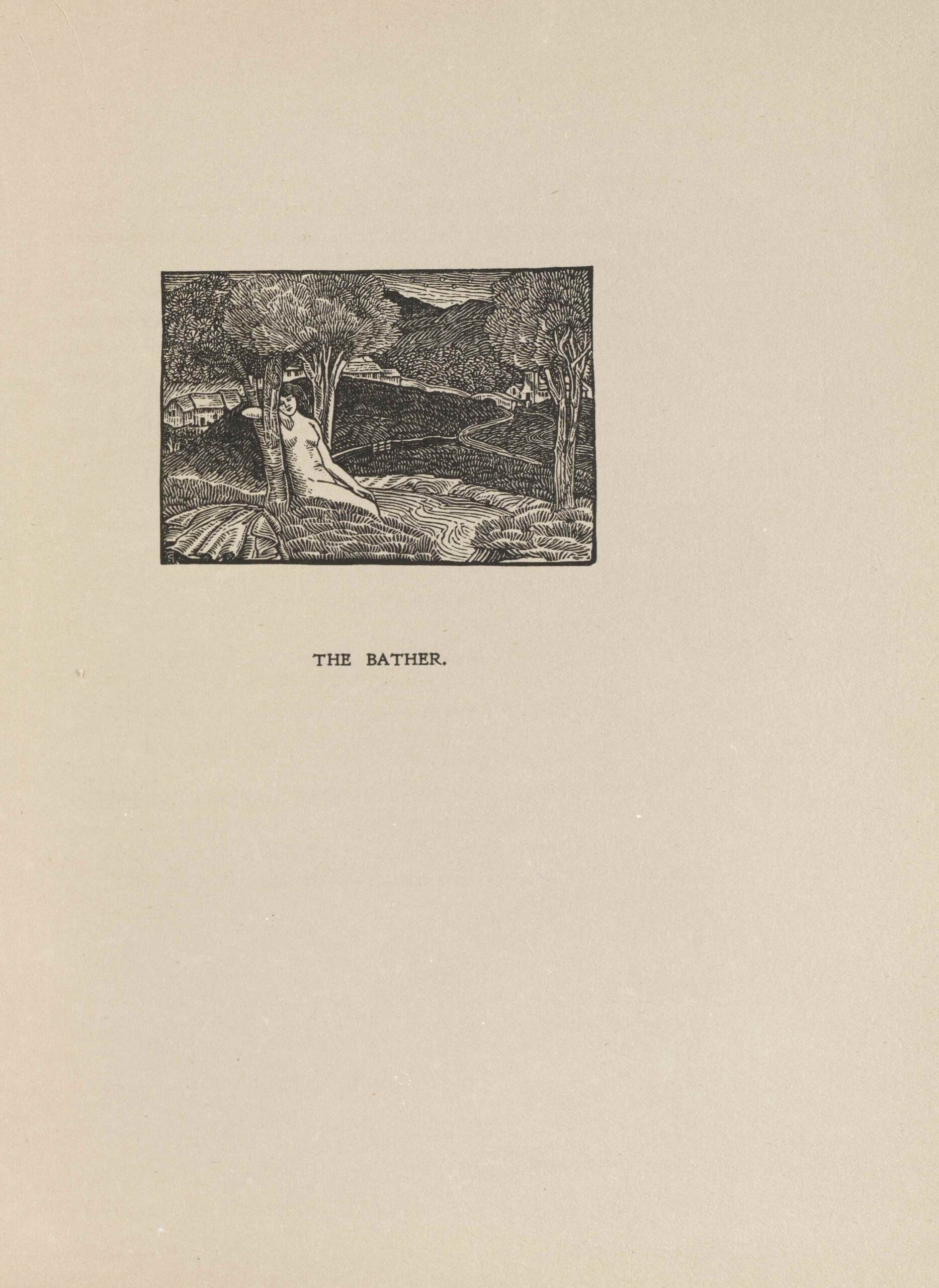 The image is in landscape orientation and is centered in the upper third of the page. The image is printed in black ink. In the left foreground, a naked woman is seated on a hill with crossed legs. She is leaning on a tree and is resting her head on her arm which is propped up against a branch. The area around her is a hilly landscape with a small stream of water running from the center foreground to the left background. Two large trees stand on each side of the running water. One slightly smaller tree is depicted behind the woman. There are two roads entering the image on the right which lead to the bridges and row of houses in the background. In the far background distance are high hills of grass and plant life, and clouded skies.