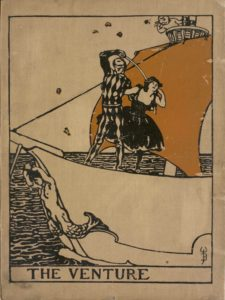 The cover shows a ship with a mermaid figurehead and a harlequin with a sword defending a woman while a putti casts rose petals
