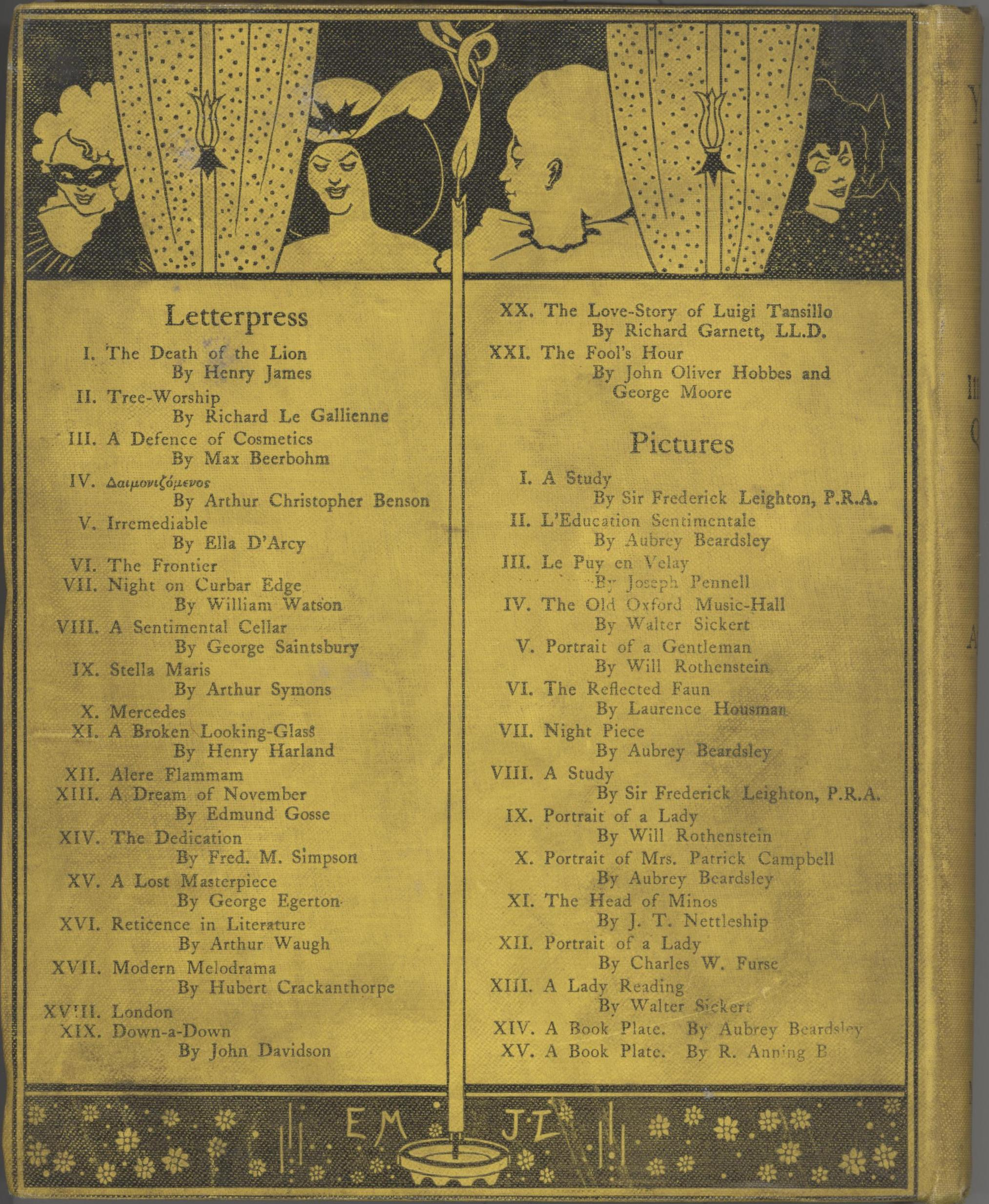 Back cover is divided vertically by a lit candle, which divides Letterpress list from Pictures List. Divided horizontally at top by black frame of curtained window. At left is a frontal torso of a bare-shouldered, smiling black-haired woman in large hat with bow; at centre, torso of a harlequin in profile, with large ruff on neck; behind curtain at right, a 3/4 view torso of woman in black, with black hair, smiling with downcast eyes, facing right. Candelabra at far left and middle right. Curtains are polka-dot.